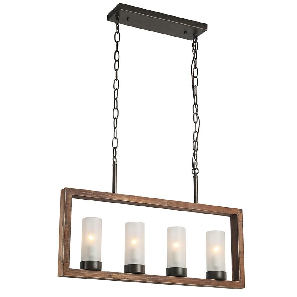 Recent Lnc 4 Light Bronze Wood Chandelier With Frosted Glass Shade Within Ellenton 4 Light Rectangle Chandeliers (View 21 of 25)