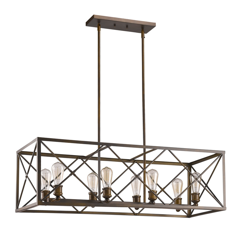 Recent Odie 8 Light Kitchen Island Square / Rectangle Pendants With Regard To Kaison 8 Light Kitchen Island Linear Pendant (View 21 of 25)