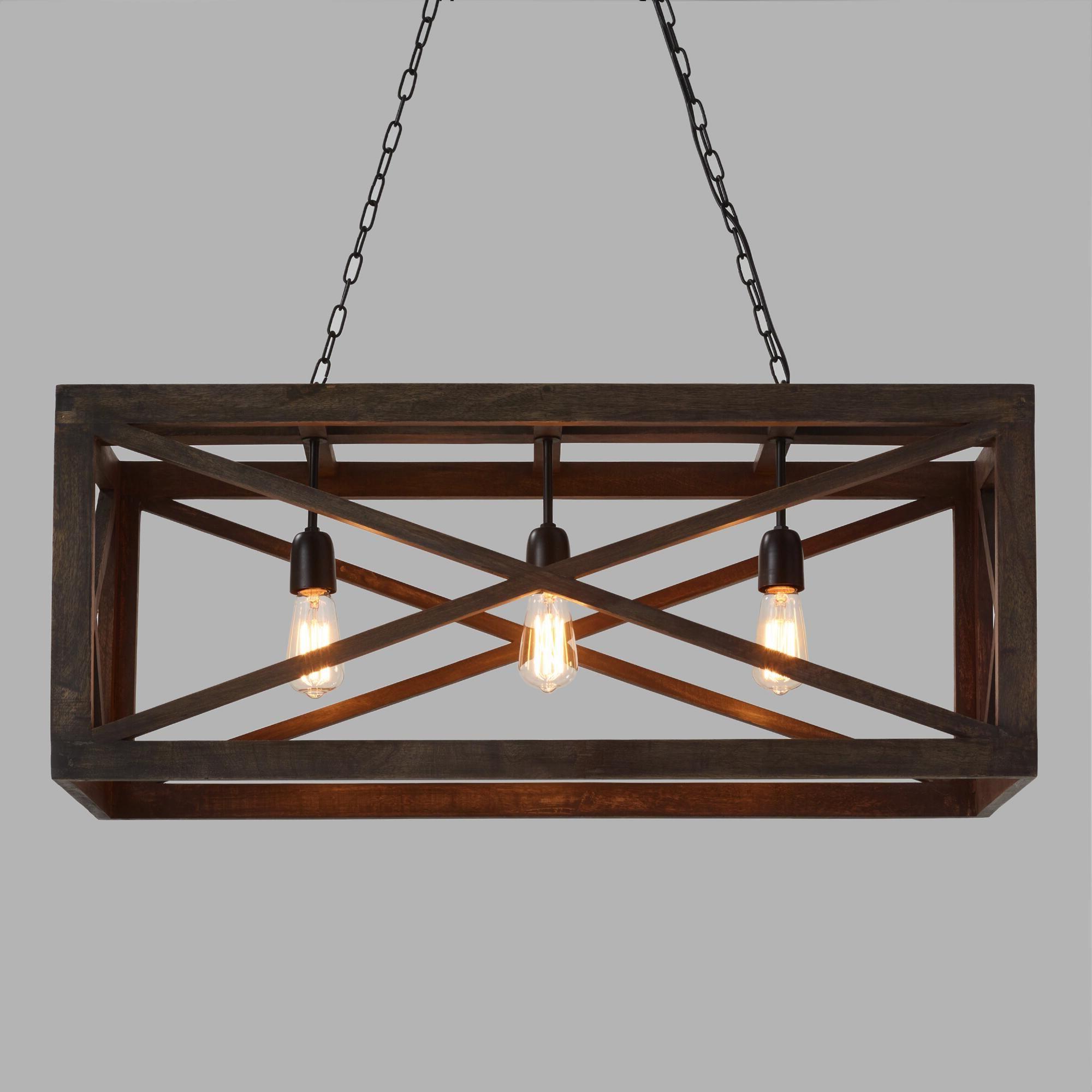 Recent Rectangular Gray Wood 3 Light Valencia Chandelierworld Regarding Ellenton 4 Light Rectangle Chandeliers (View 18 of 25)