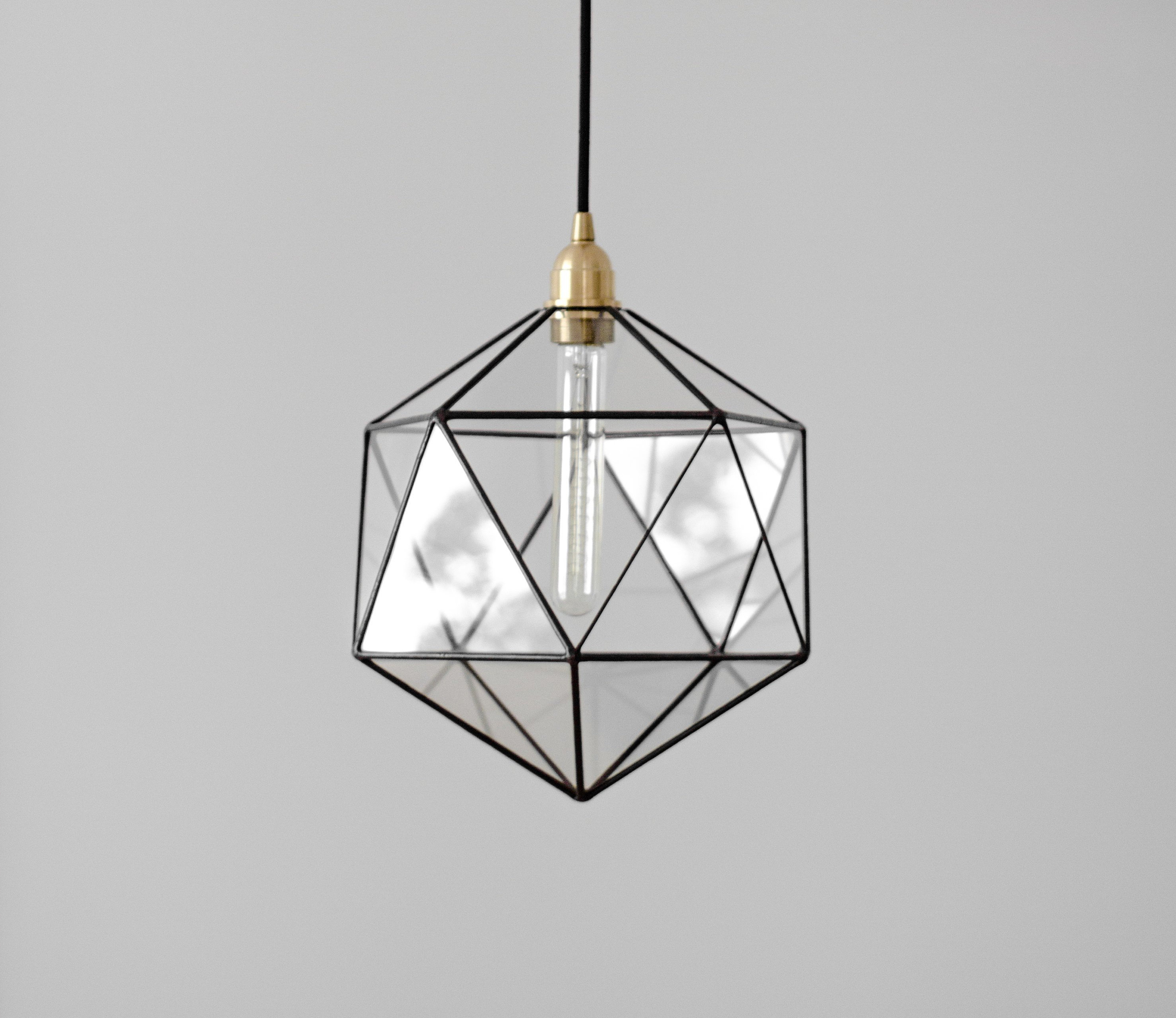 Recent Rossi Industrial Vintage 1-Light Geometric Pendants throughout Icosahedron Glass Chandelier / Geometric Pendant Light / Modern Warm Retro  Bulb Lamp / 70's Industrial Retro Furniture / Hanging Lighting