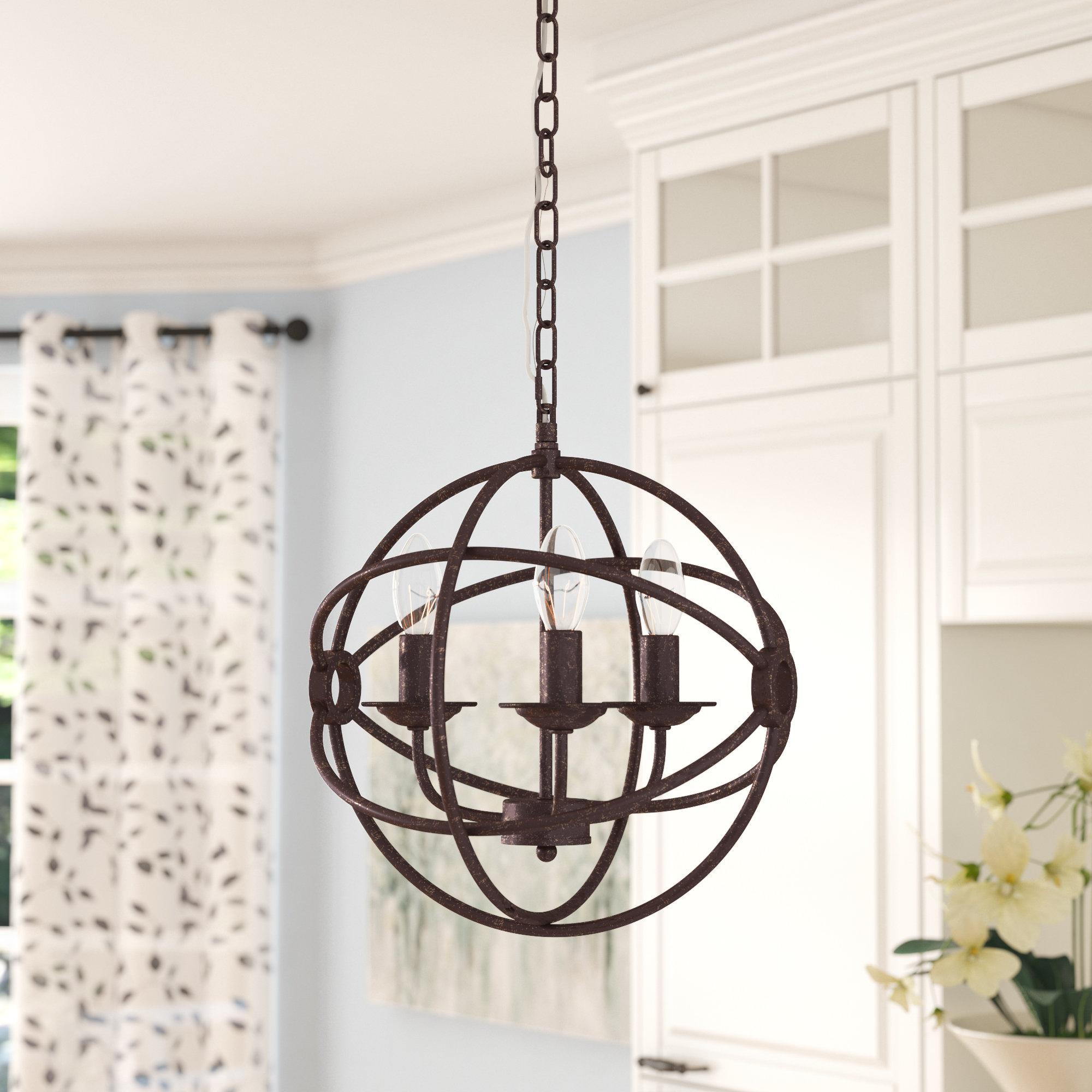 Recent Shipststour 3-Light Globe Chandelier regarding Alden 3-Light Single Globe Pendants