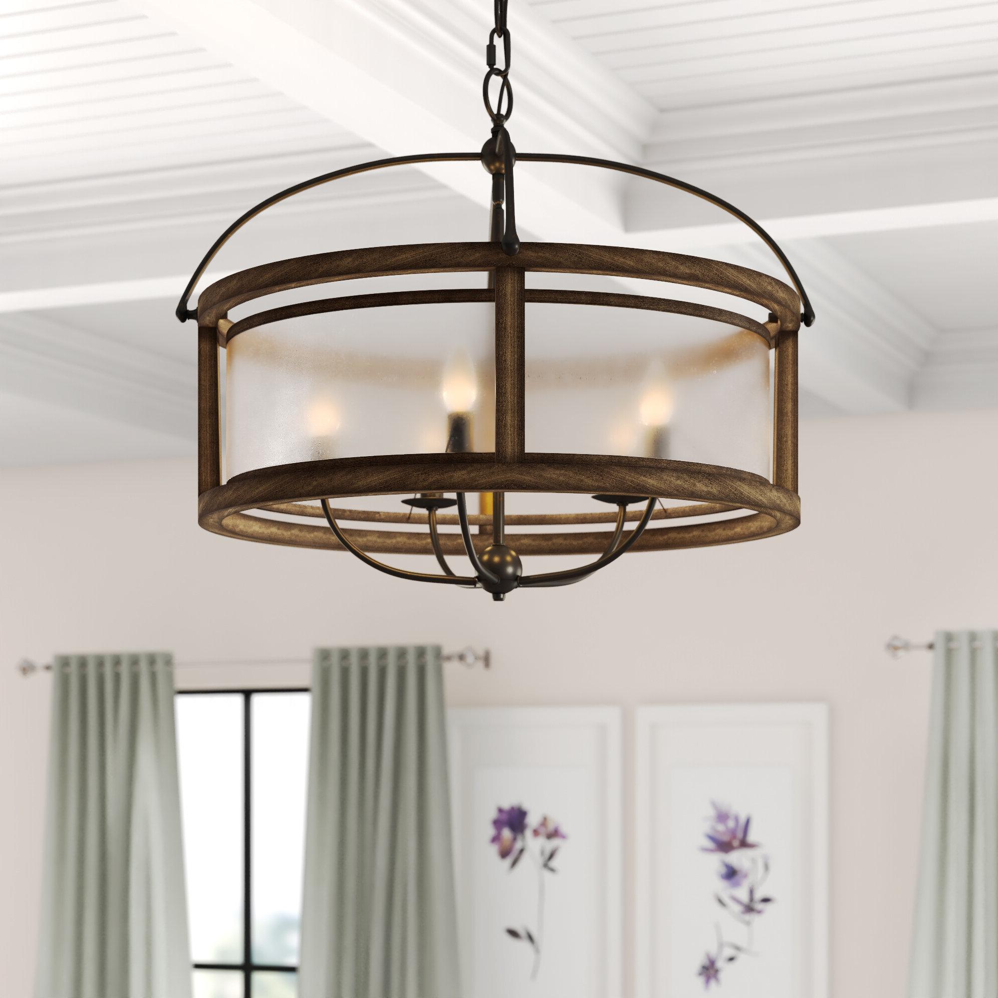 Reidar 4 Light Geometric Chandeliers Pertaining To Fashionable Aadhya 5 Light Drum Chandelier (View 16 of 25)