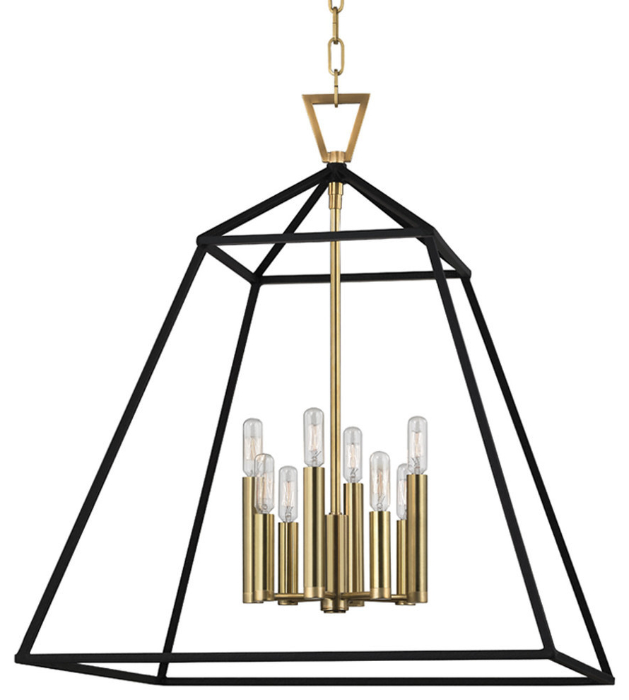 Rockland 4-Light Geometric Pendants regarding Favorite Webster 8 Light Pendant In Aged Brass