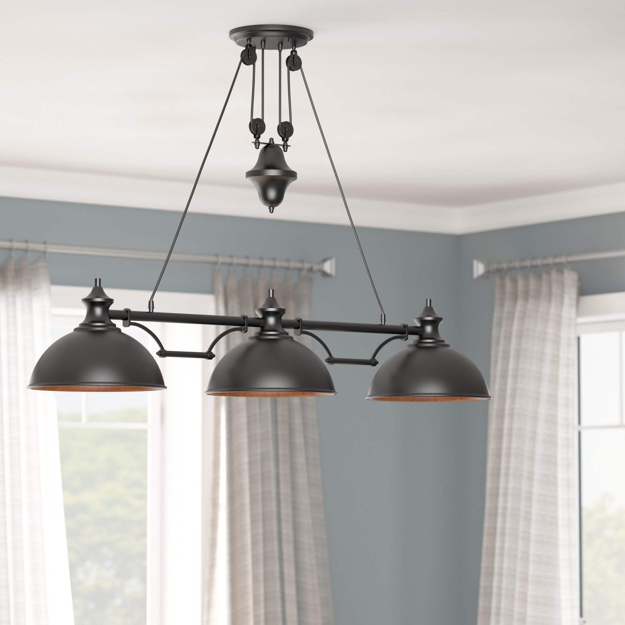 Rodriques 3 Light Kitchen Island Pendant With Regard To Well Liked Ariel 2 Light Kitchen Island Dome Pendants (View 9 of 25)