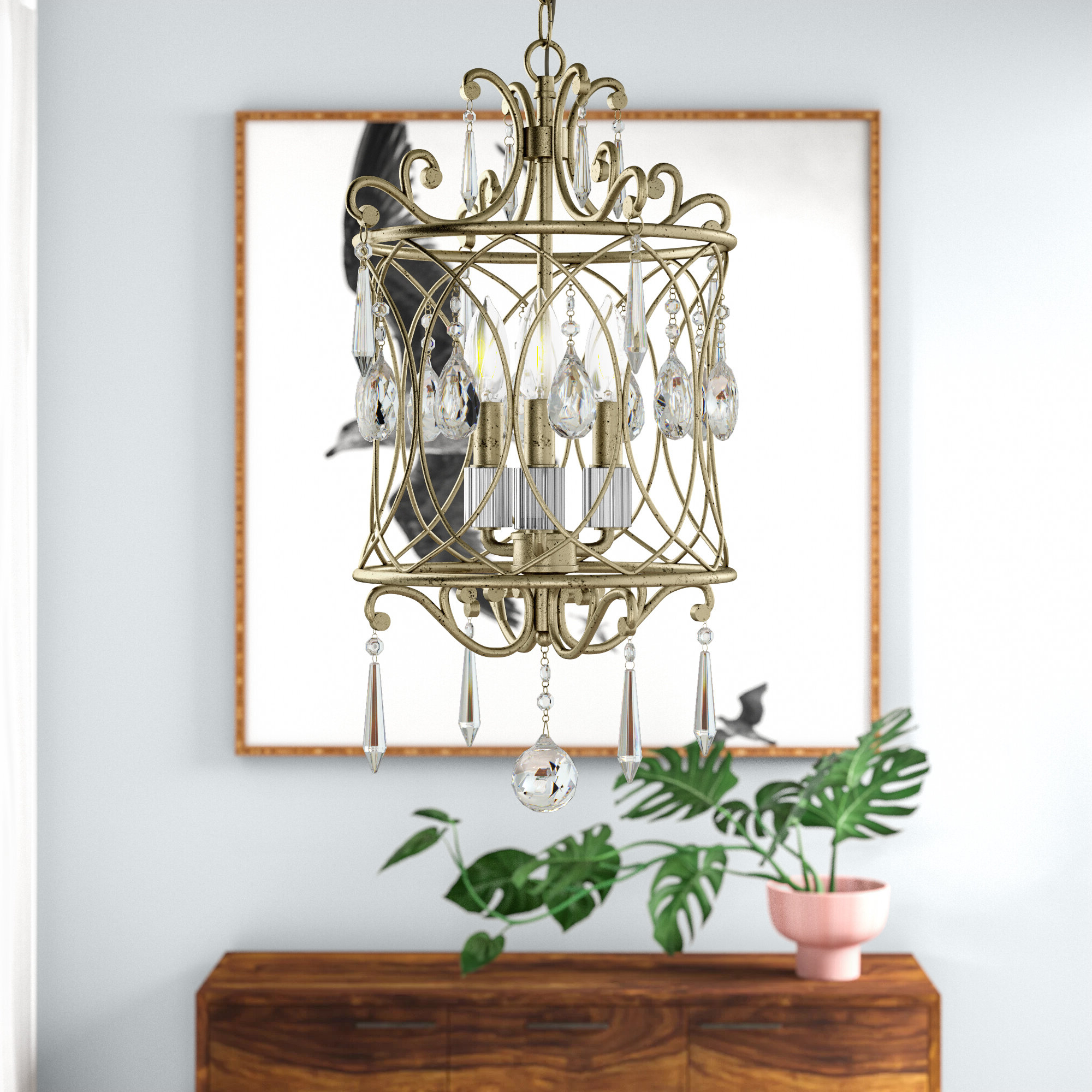 Romane 3-Light Lantern Geometric Pendant in 2019 Dilley 1-Light Unique / Statement Geometric Pendants
