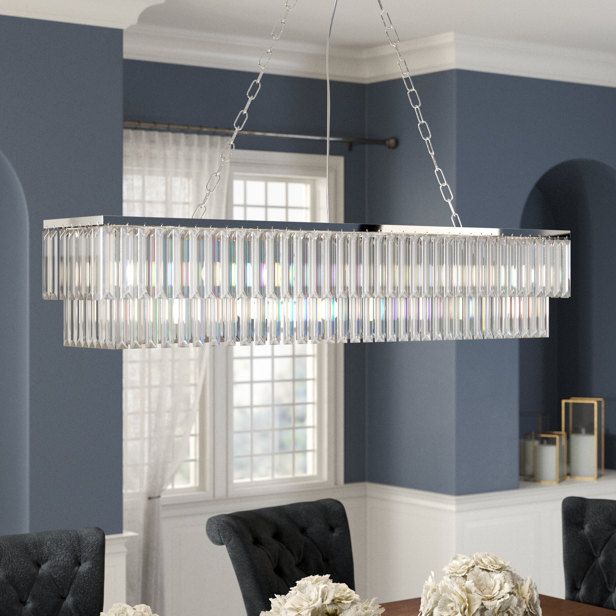 Rosdorf Park Allen 8-Light Kitchen Island Rectangle Pendant pertaining to Fashionable Gracelyn 8-Light Kitchen Island Pendants