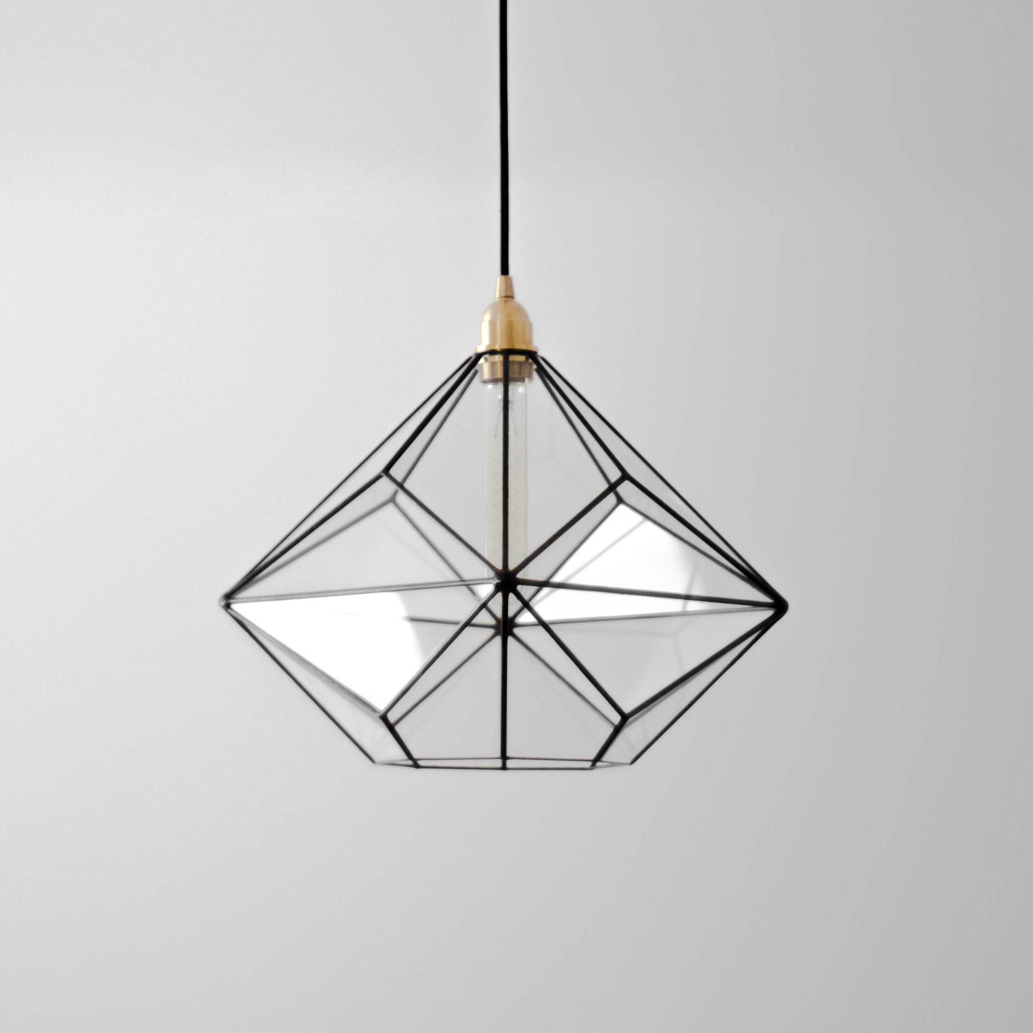 Rossi Industrial Vintage 1 Light Geometric Pendants For Trendy Triakis Octahedron Big Geometric Chandelier / Warm Vintage Bulb Lamp /  Glass Geometric Lighting / Retro Style Lamp / Modern Pendant Light (View 16 of 25)