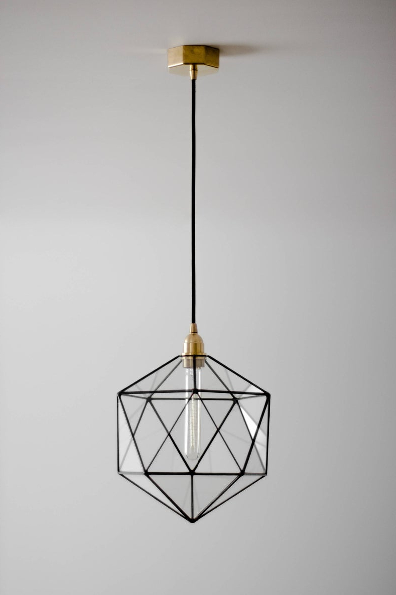 Rossi Industrial Vintage 1 Light Geometric Pendants With Regard To Popular Icosahedron Glass Chandelier / Geometric Pendant Light / Modern Warm Retro  Bulb Lamp / 70's Industrial Retro Furniture / Hanging Lighting (View 18 of 25)