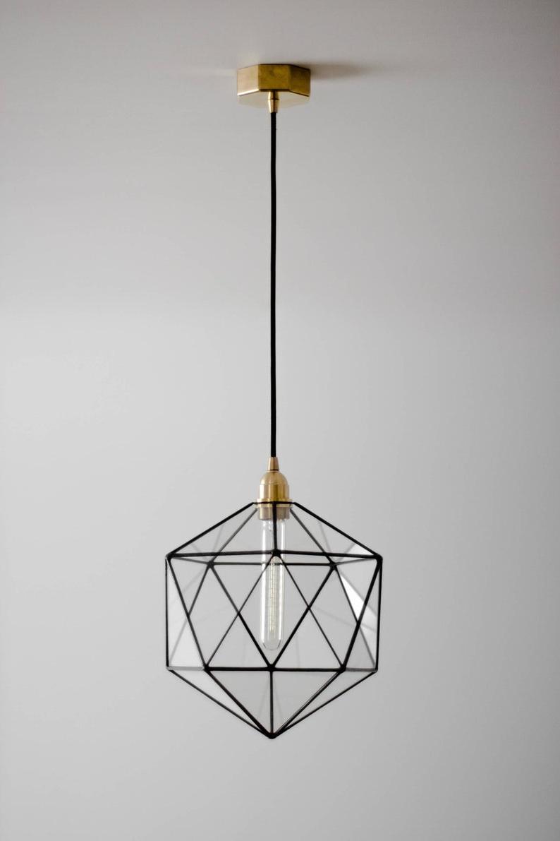 Rossi Industrial Vintage 1-Light Geometric Pendants with regard to Popular Icosahedron Glass Chandelier / Geometric Pendant Light / Modern Warm Retro  Bulb Lamp / 70's Industrial Retro Furniture / Hanging Lighting