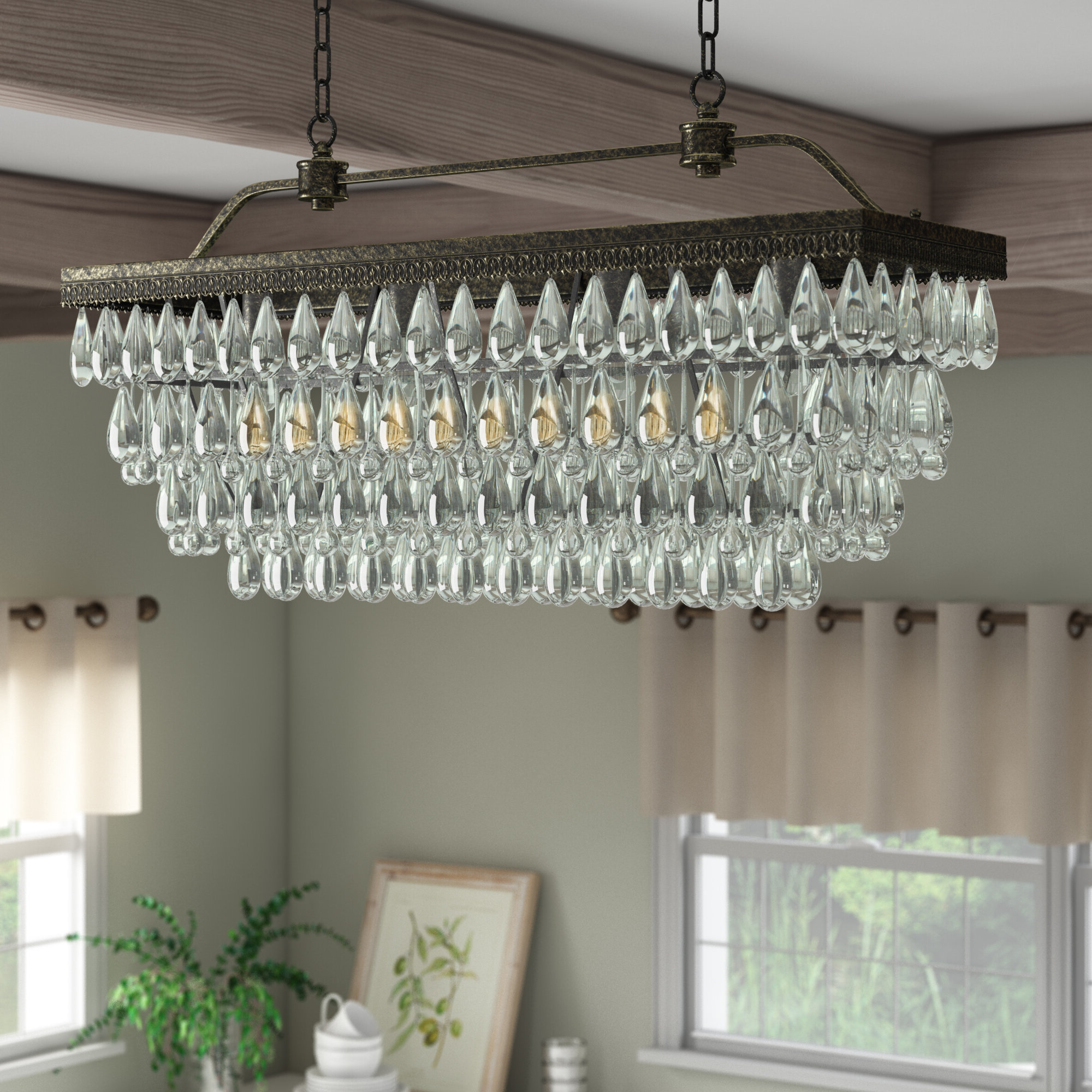Rowell Rectangular Crystal 4-Light Kitchen Island Pendant throughout Recent Whitten 4-Light Crystal Chandeliers