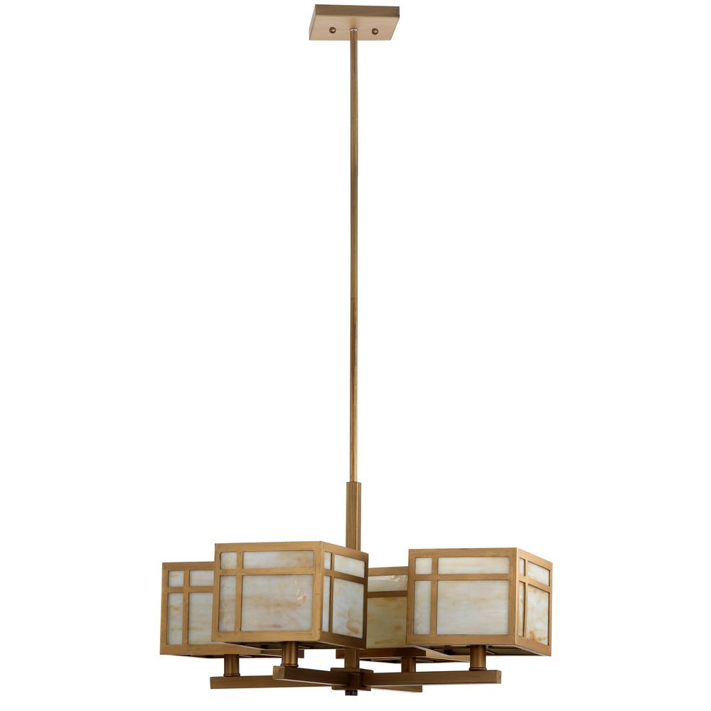 Safavieh Craftsman 4 Light Antique Gold Chandelier Intended For Widely Used Suki 5 Light Shaded Chandeliers (View 14 of 25)