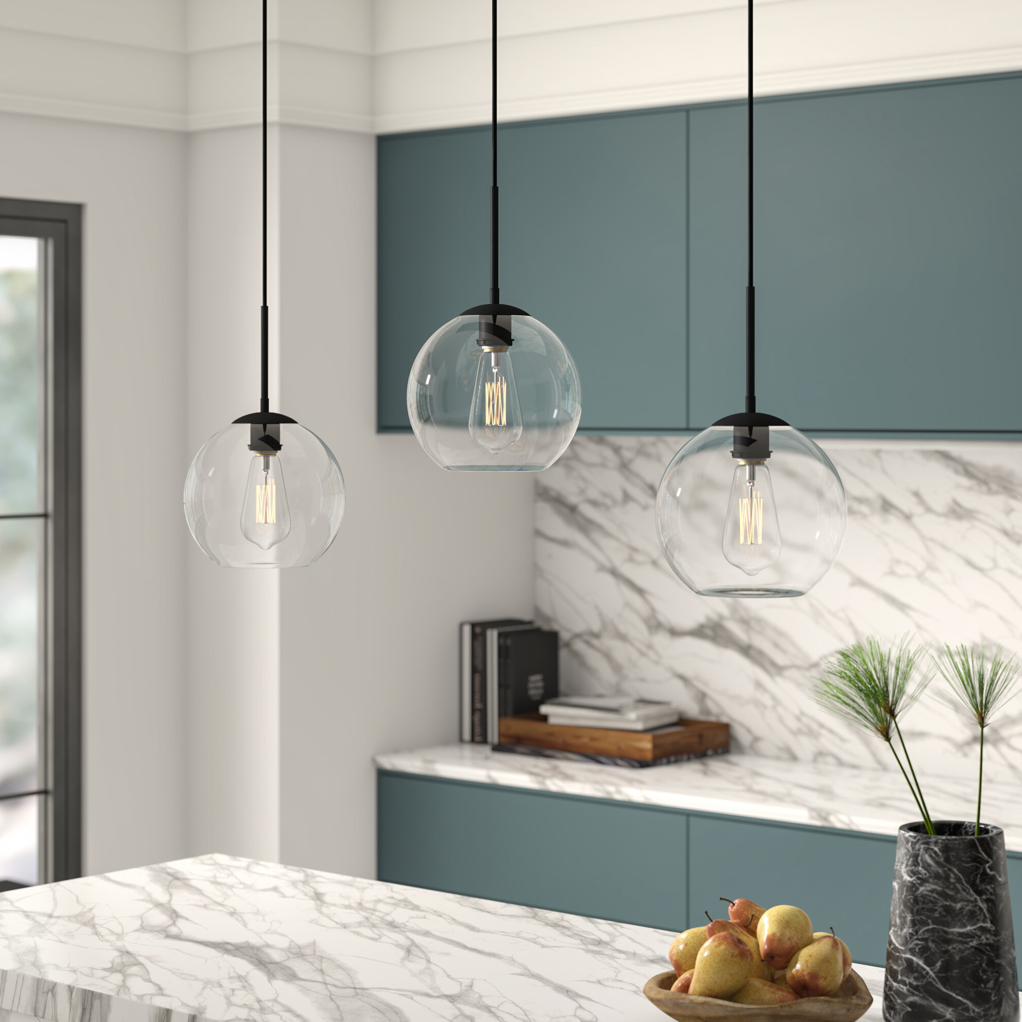 "Schutt 4 Light Kitchen Island Pendants For Widely Used Black Mini (Less Than 10"" Wide) Pendant Lighting You'll Love (View 17 of 25)"