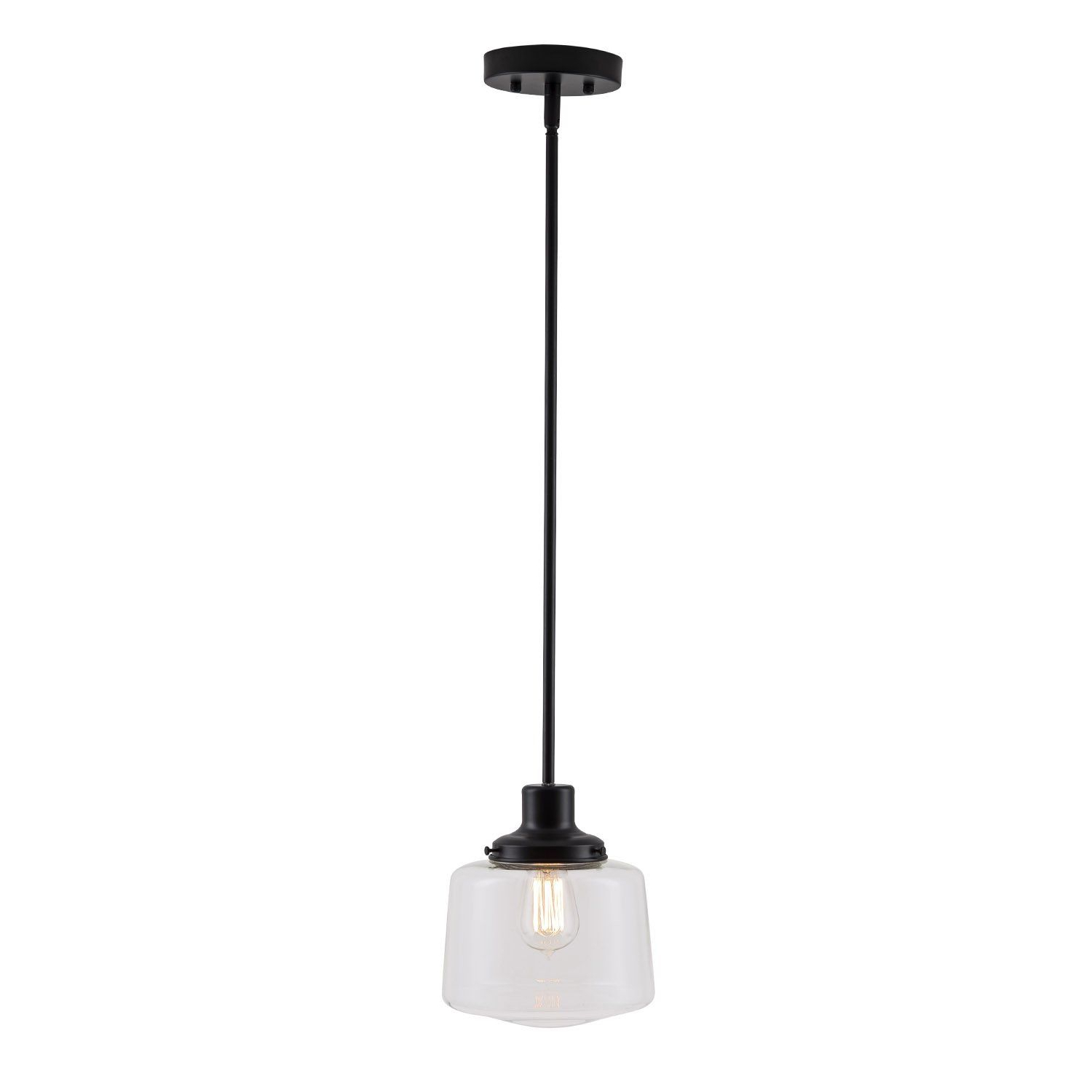 Scolare Led Schoolhouse Pendant Black W/ Clear Glass Shade With Regard To Famous Fresno Dome 1 Light Bell Pendants (View 5 of 25)