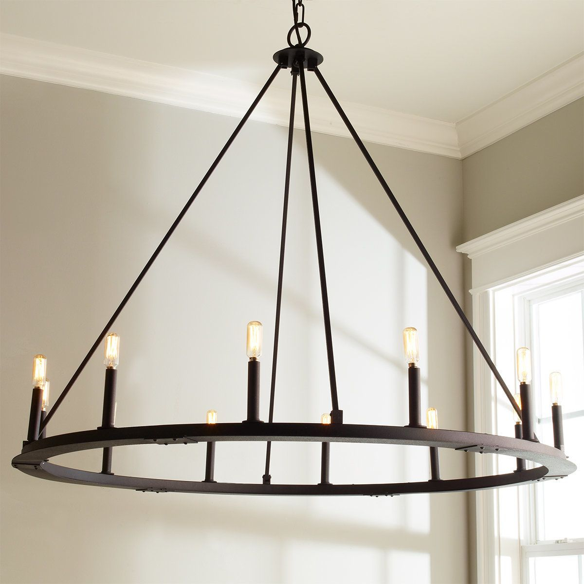 Shayla 12 Light Wagon Wheel Chandeliers Intended For Preferred Check Out Minimalist Iron Ring Chandelier – 12 Light From (View 16 of 25)
