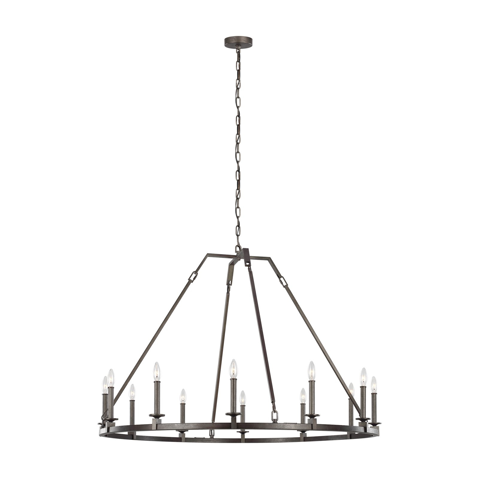 Shayla 12 Light Wagon Wheel Chandeliers With Latest Feiss Landen F3216/12Sms Chandelier (View 21 of 25)