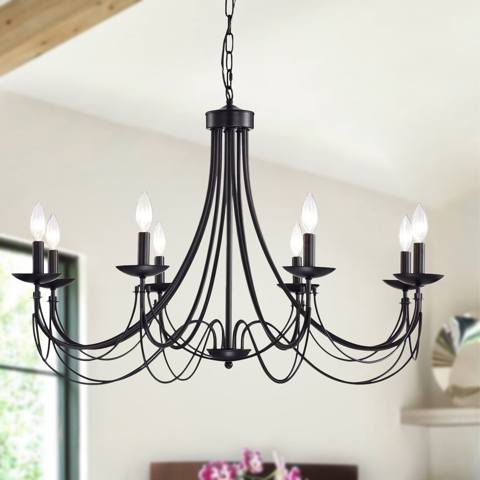 Shaylee 8 Light Candle Style Chandeliers Within Most Recent Clash 8 Light 35 Inch Matte Black Branched Chandelier (View 22 of 25)
