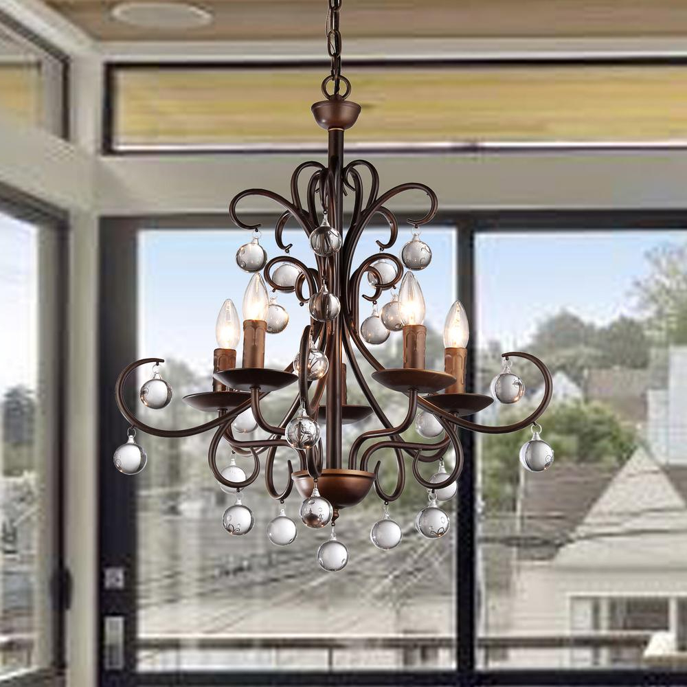 Sherri 6 Light Chandeliers Pertaining To Favorite Warehouse Of Tiffany Grace Crystal Drop Curved 5 Light Antique Bronze Chandelier (View 17 of 25)