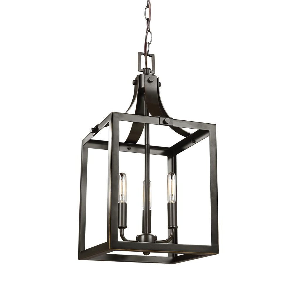 Sherri Ann 3 Light Lantern Square / Rectangle Pendants With Most Recent Sea Gull Lighting Labette 3 Light Heirloom Bronze Hall Foyer (View 17 of 25)
