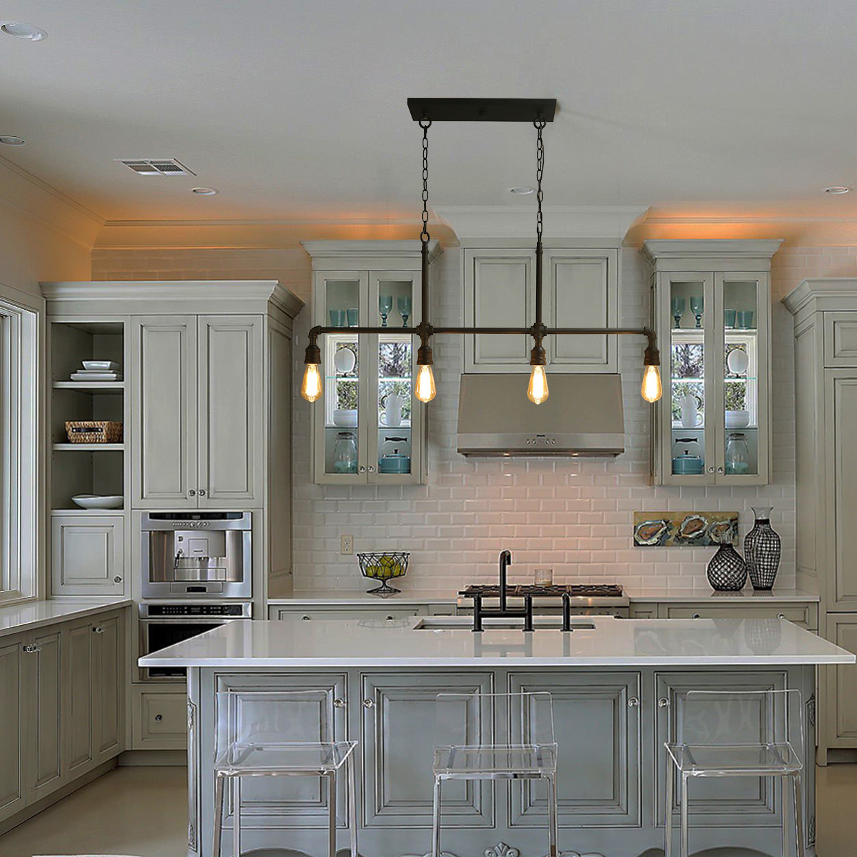 Shoreland 4 Light Kitchen Island Linear Pendant For Current Jefferson 4 Light Kitchen Island Linear Pendants (View 20 of 25)