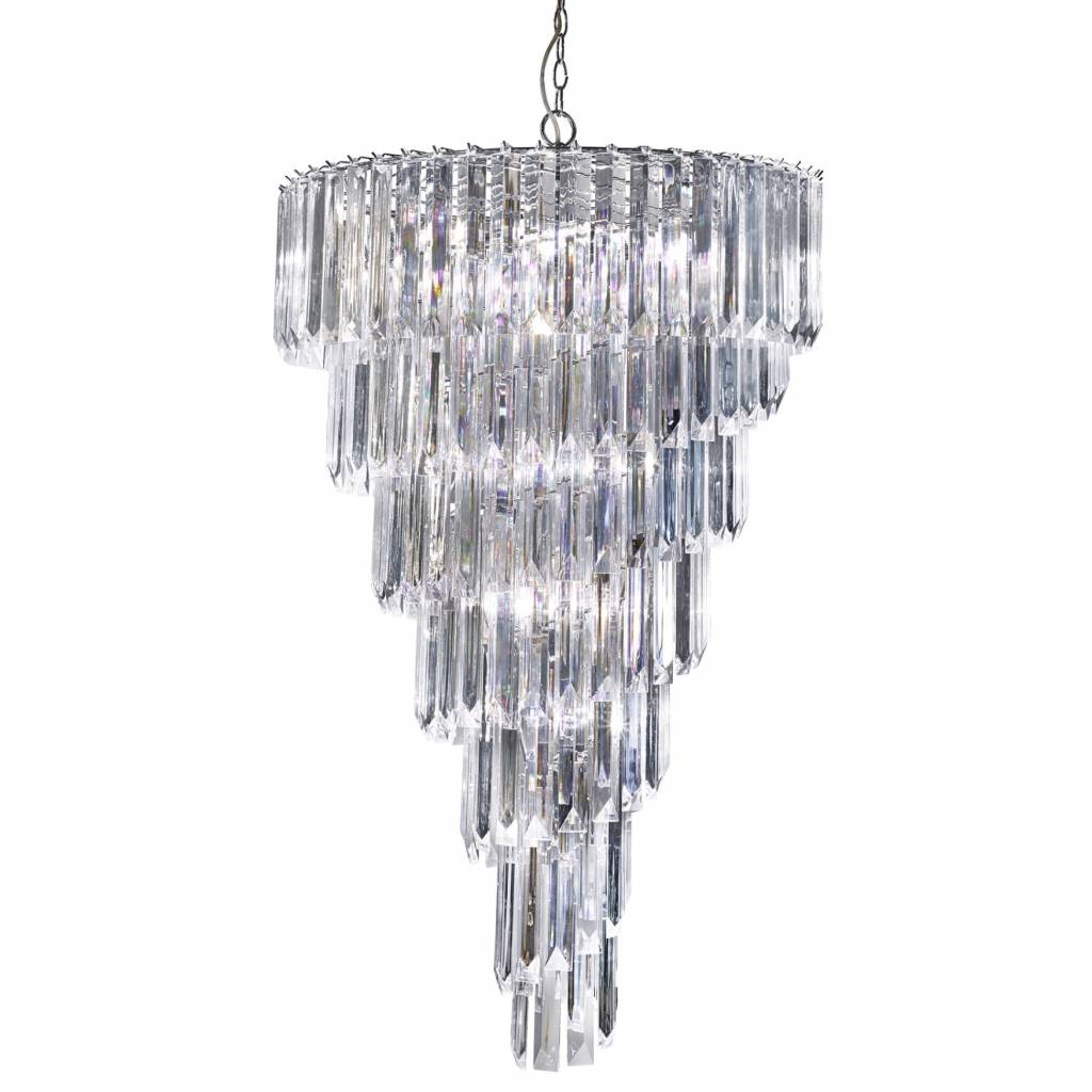 Signature – Large Cascading 9 Light Chandelier – Clear Acrylic Prisms With Most Current Camilla 9 Light Candle Style Chandeliers (View 19 of 25)