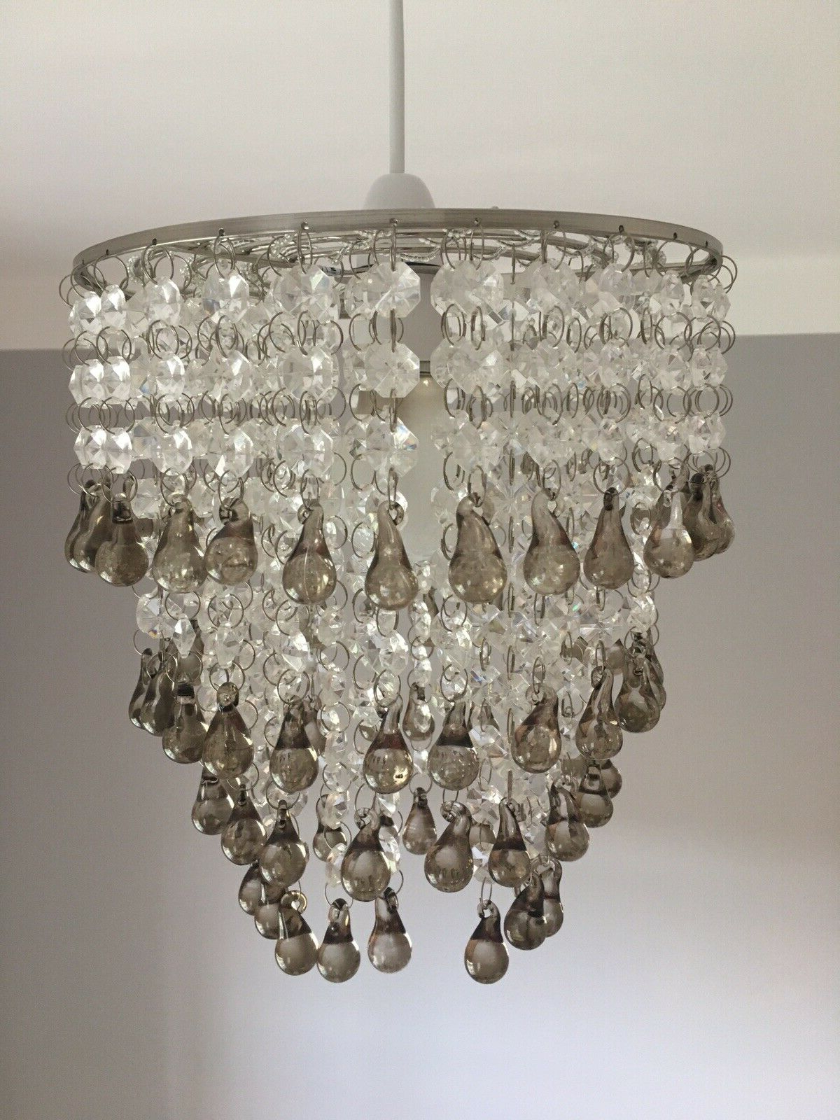 Sinead 4 Light Chandeliers With Regard To Widely Used Laura Ashley 'Carmen' Easy Fit Chandelier / Pendant With Smoked Glass  Droplets (View 11 of 25)