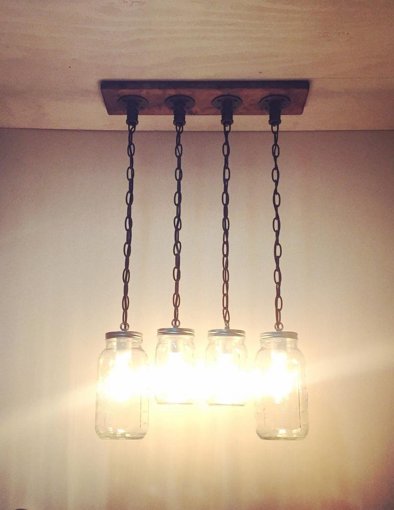 Sue 1 Light Single Jar Pendants Intended For Well Known Rustic/industrial/modern Handmade Original Mason Jar Chandelier/kitchen  Lighting/pendant Light/rustic Kitchen/bar/farm/cottage/rustic Decor (View 17 of 25)