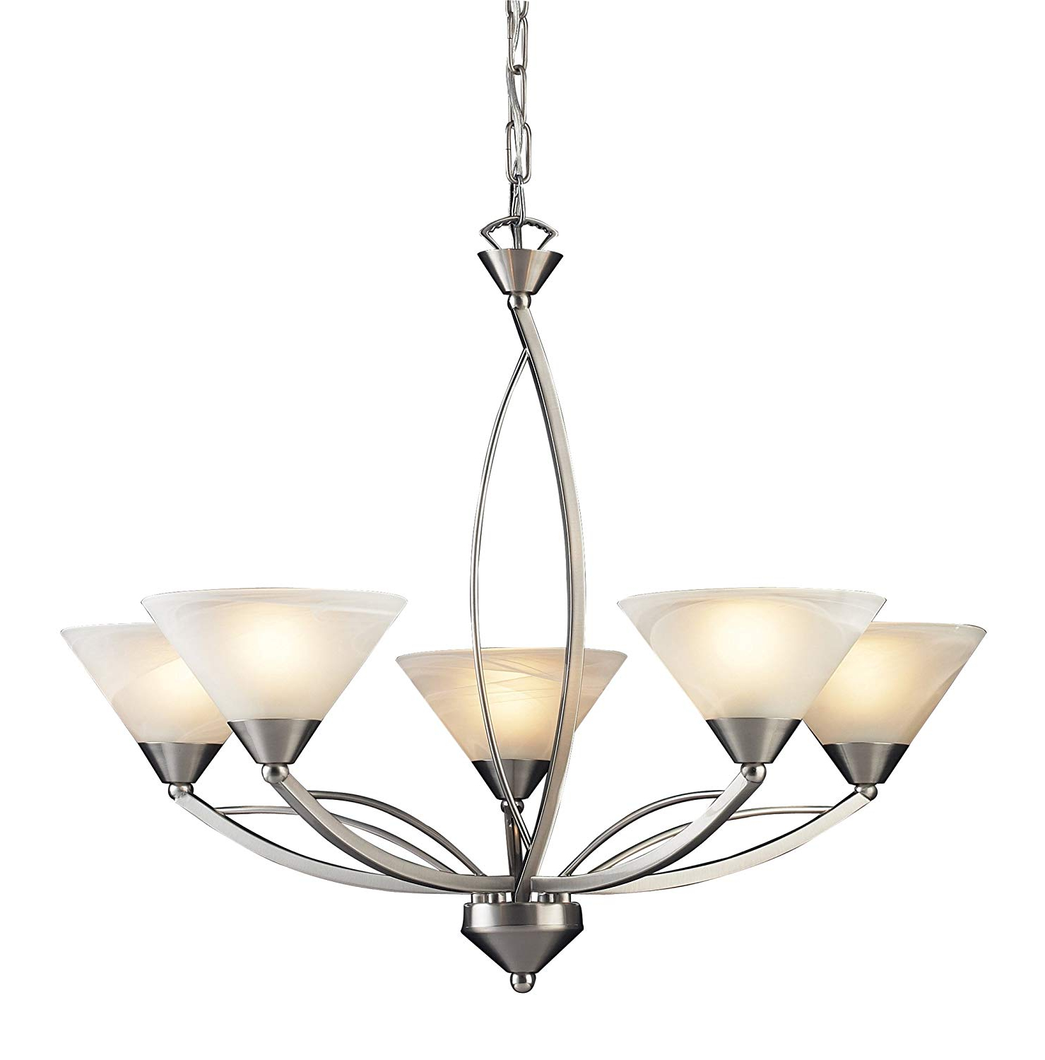 Suki 5 Light Shaded Chandeliers With Most Current Elk 7637/5 5 Light Chandelier In Satin Nickel And Marbleized White Glass (View 19 of 25)