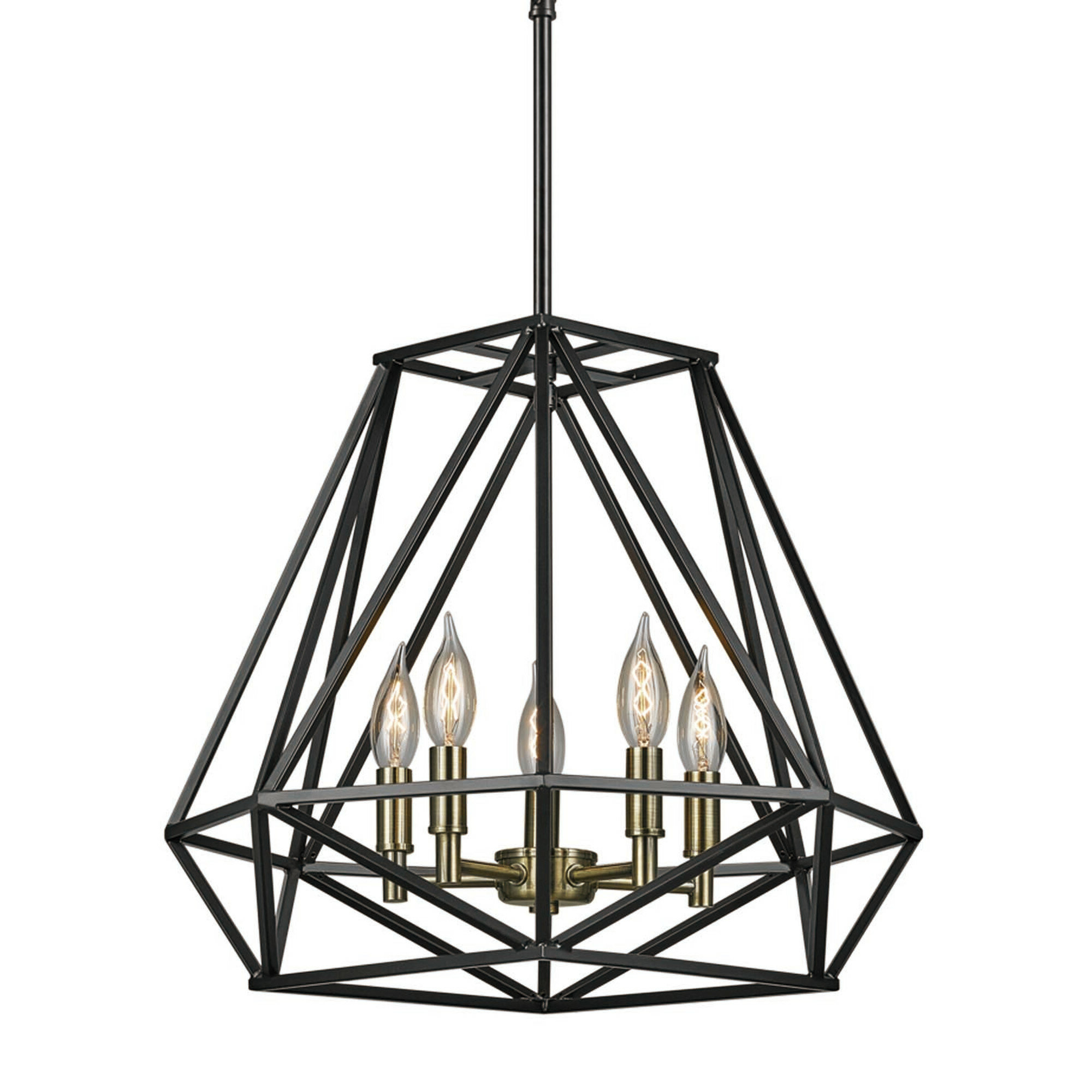 Tabit 5 Light Geometric Chandelier With Regard To Most Current Hydetown 1 Light Single Geometric Pendants (View 16 of 25)