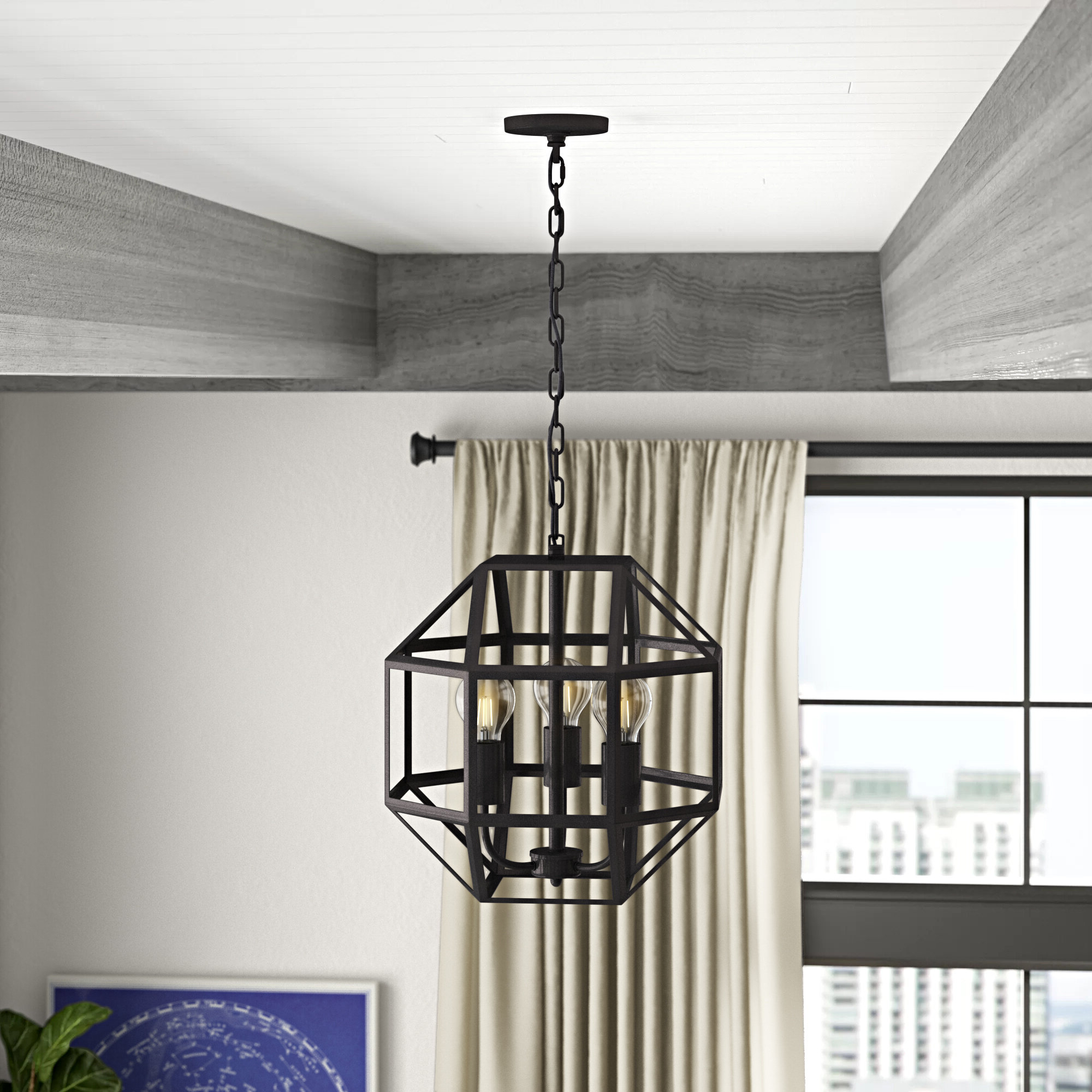 Tabit 5 Light Geometric Chandeliers Within Most Recently Released Mullican 3 Light Geometric Chandelier (View 5 of 25)