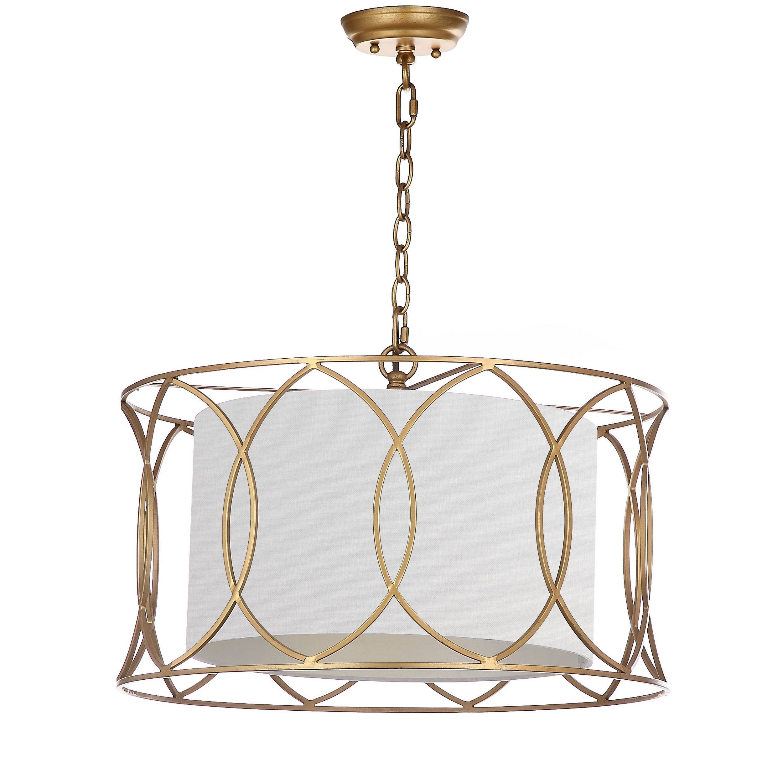 Tadwick 3 Light Single Drum Chandeliers Inside Well Known Safavieh Lighting Silas Gold Adjustable Pendant Lamp (View 19 of 25)