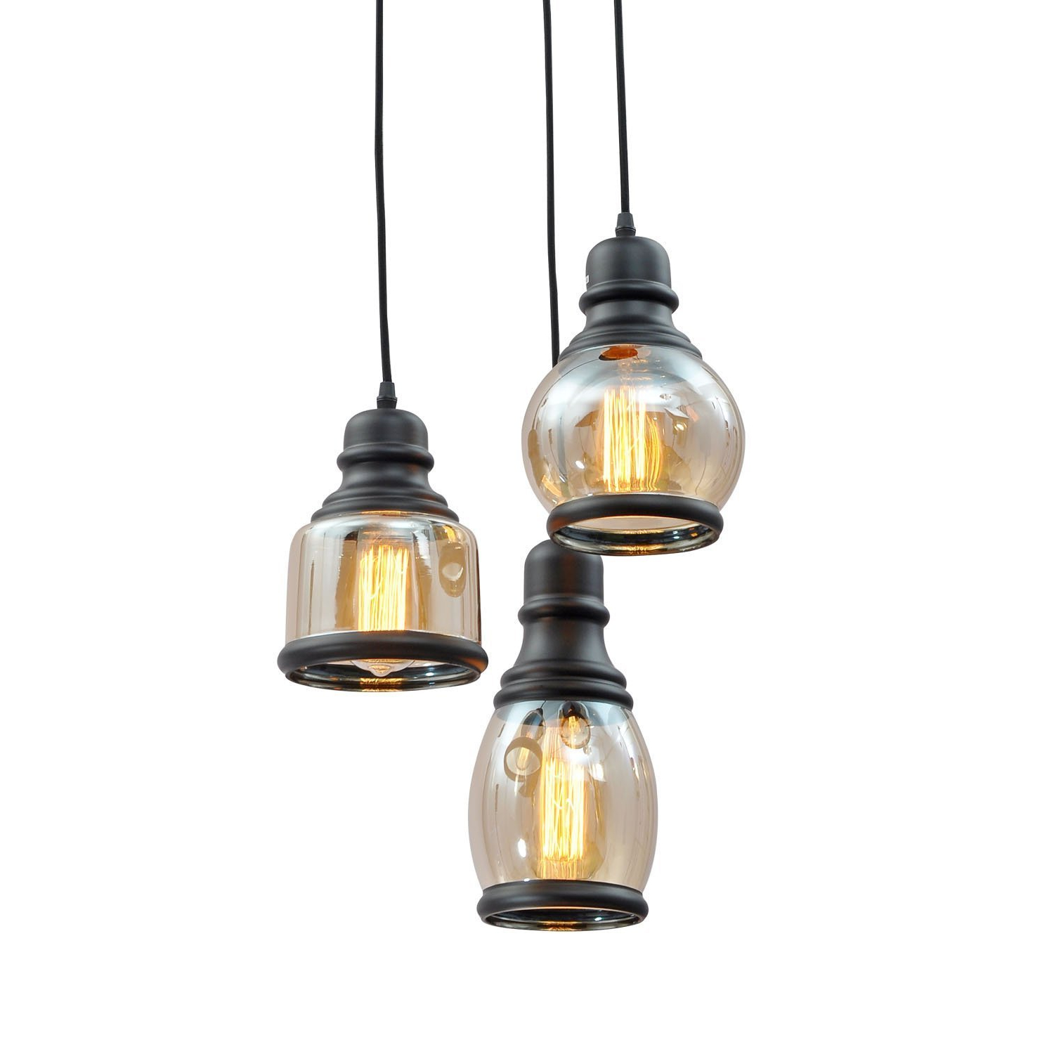 Taft Glass Jar 3 Light Cluster Pendant With Widely Used Vernice 3 Light Cluster Bell Pendants (View 9 of 25)