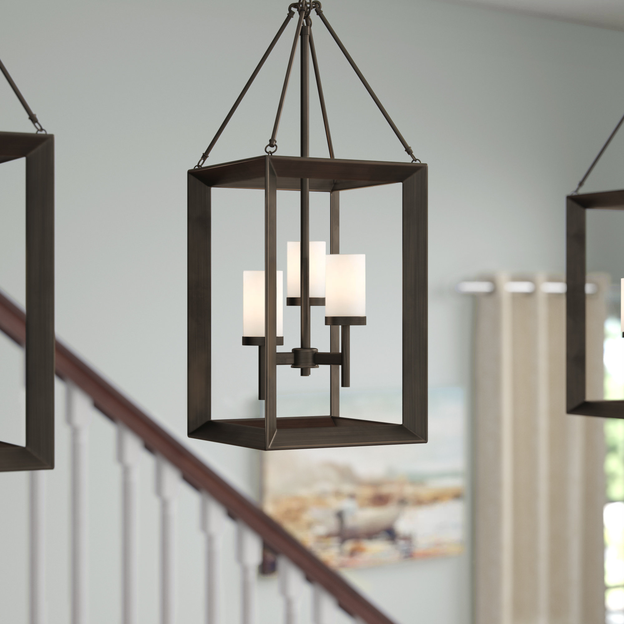 Thorne 3 Light Lantern Square Pendant With Regard To Best And Newest Odie 4 Light Lantern Square Pendants (View 19 of 25)