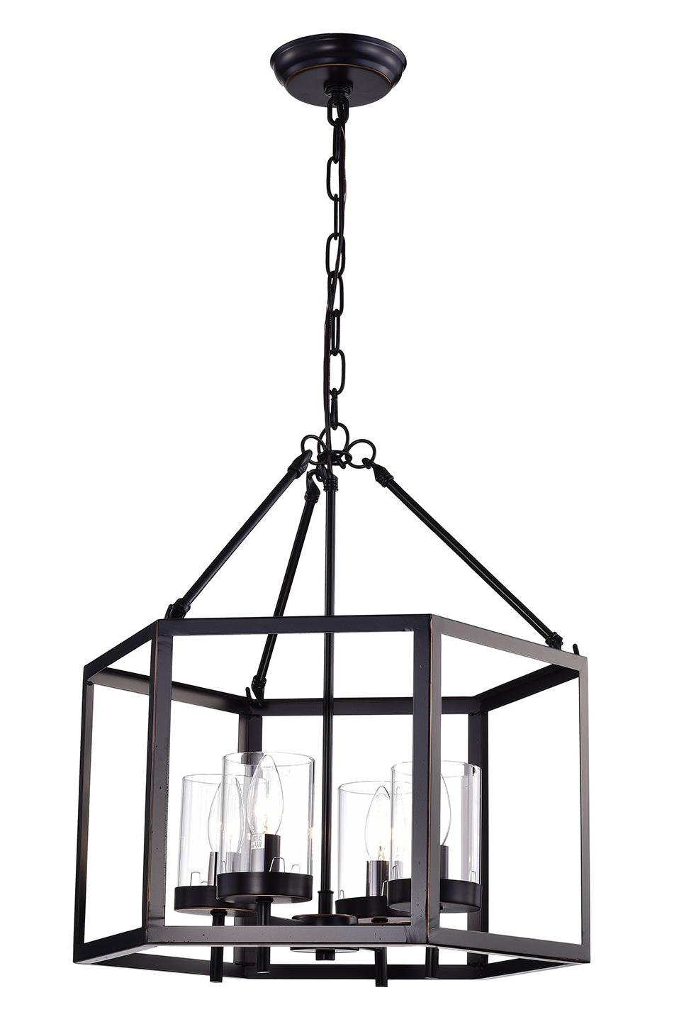 Thorne 6 Light Lantern Square / Rectangle Pendants Regarding 2019 Gracie Oaks Liberty Street 4 Light Lantern Geometric Pendant (View 16 of 25)