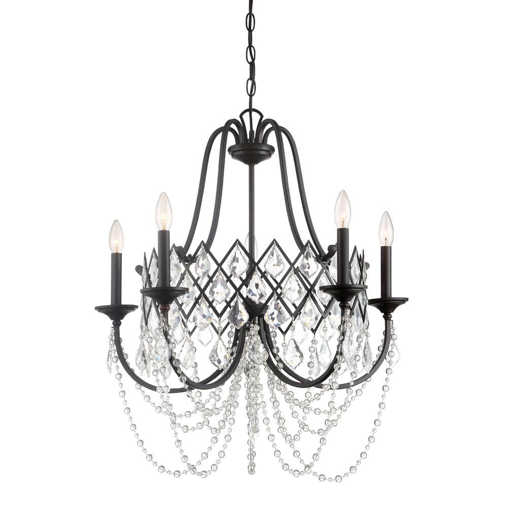 Thresa 5 Light Shaded Chandeliers Intended For Well Known Designers Fountain Ravina 5 Light Vintage Bronze Chandelier With Faceted  Crystal Accents Shade (View 9 of 25)