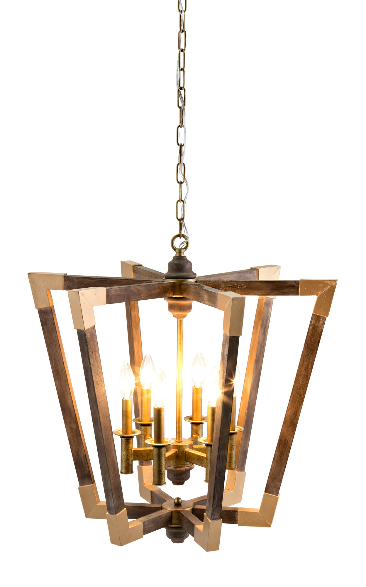 Tiana 4 Light Geometric Chandeliers In Fashionable Westfall Wood 6 Light Geometric Chandelier (View 21 of 25)