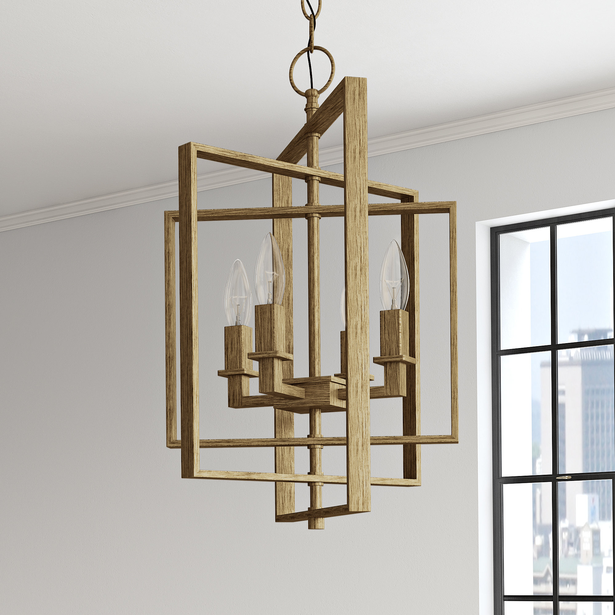 Tiana 4 Light Geometric Chandeliers With Newest Mercury Row Yarnell 4 Light Square/rectangle Chandelier (View 5 of 25)