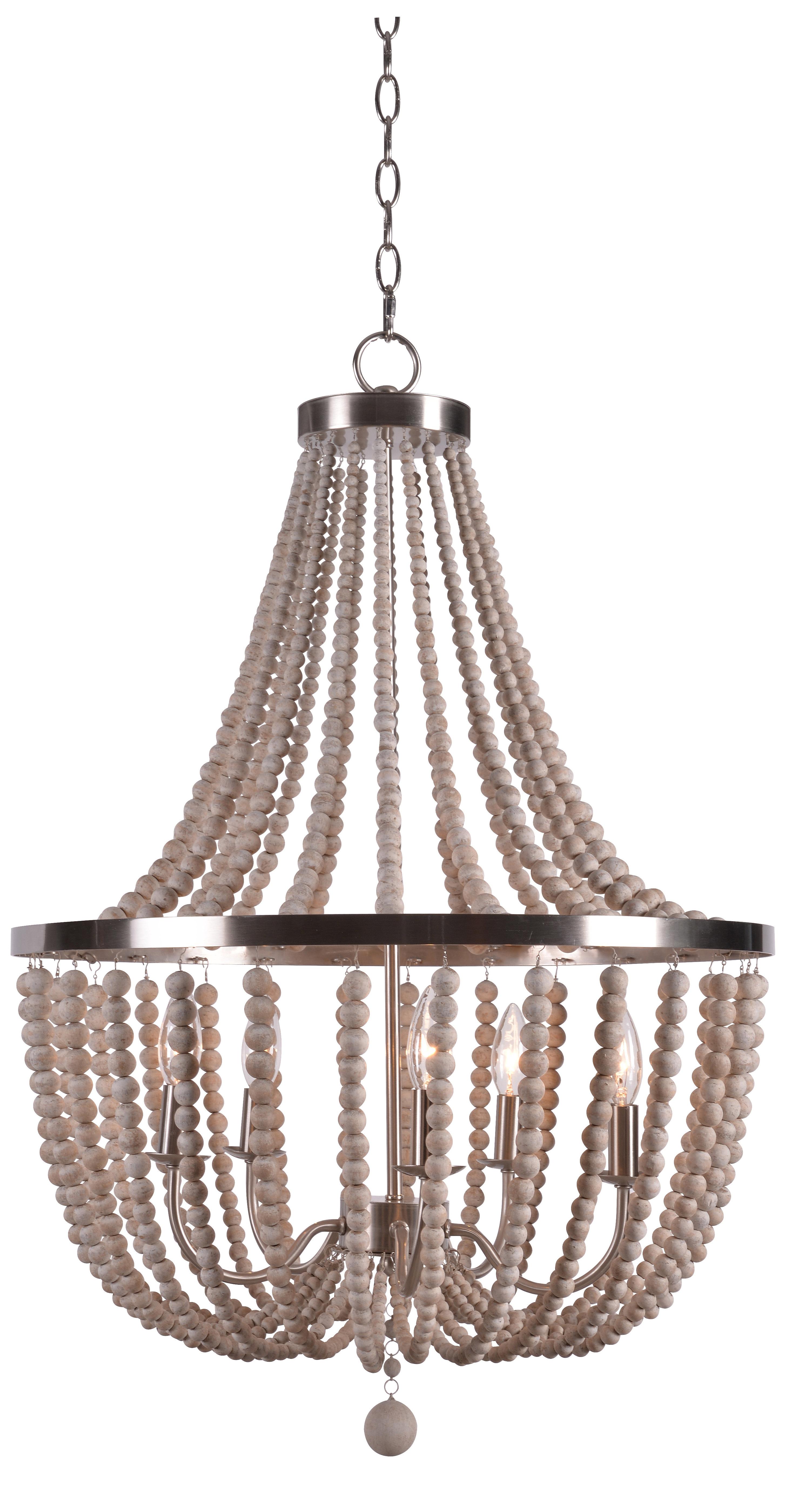 Tilden Wood Bead 5 Light Empire Chandelier With Regard To Favorite Duron 5 Light Empire Chandeliers (View 21 of 25)