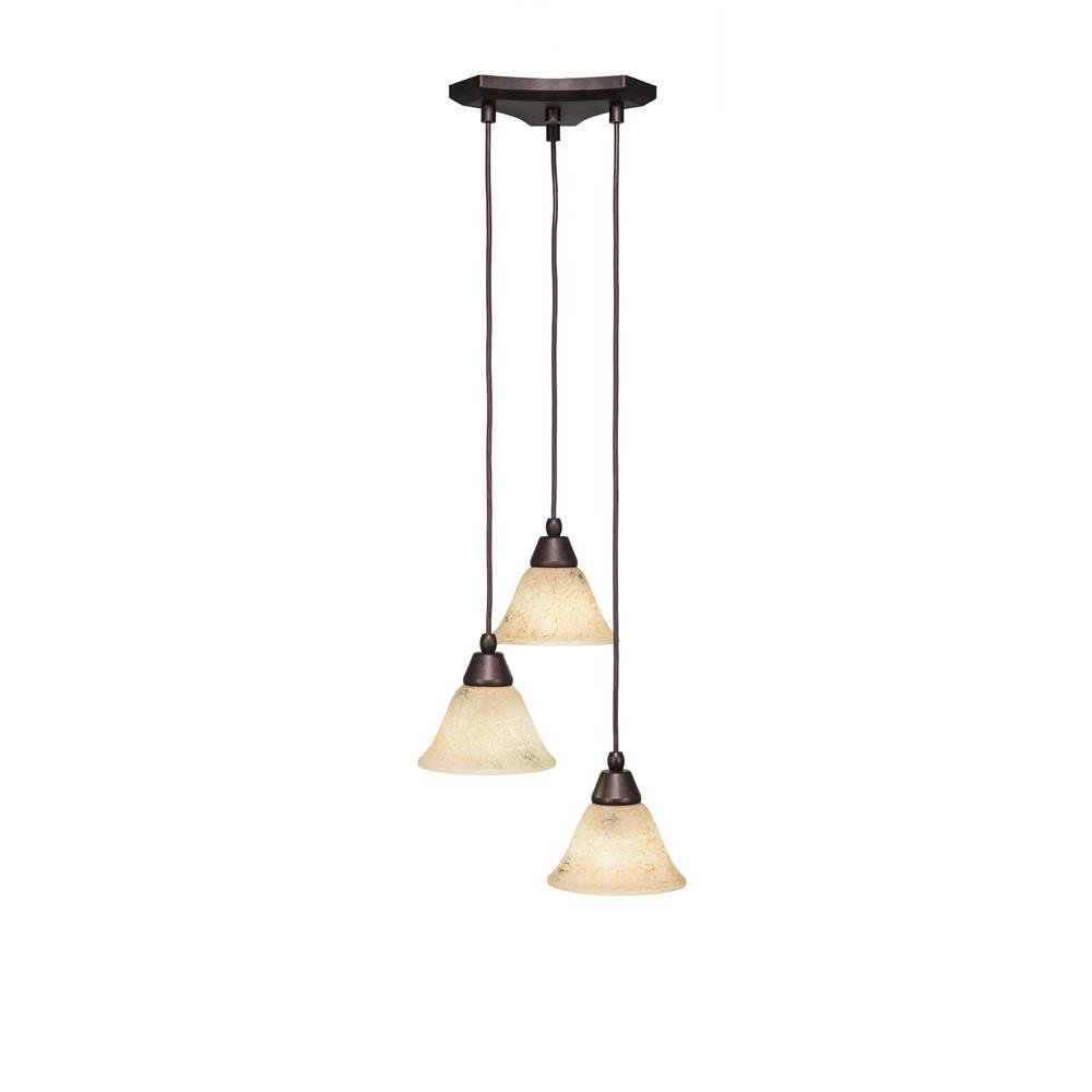 Toltec Lighting 28 Brz 508 Europa 3 Multi Light Mini Pendant With Well Known Guro 1 Light Cone Pendants (View 23 of 25)