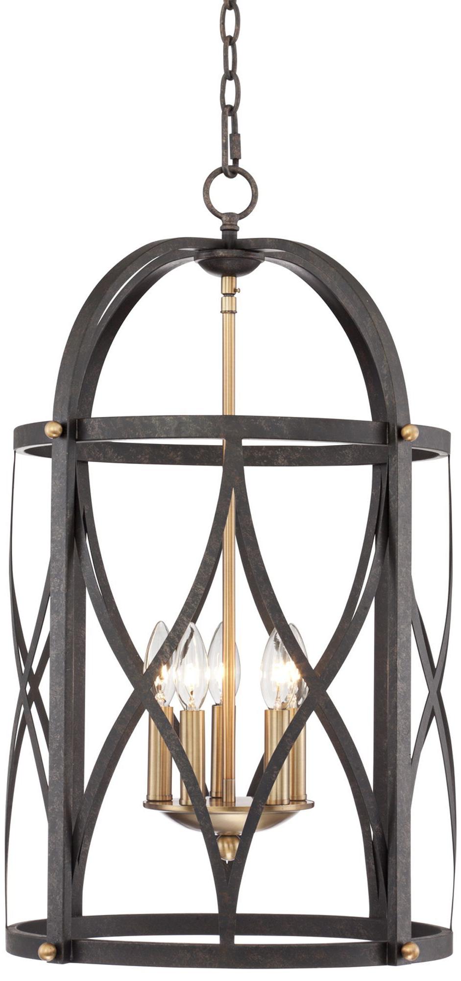 Torrison 5 Light 16' Wide Dark Bronze Foyer Chandelier For Favorite Nisbet 4 Light Lantern Geometric Pendants (View 24 of 25)