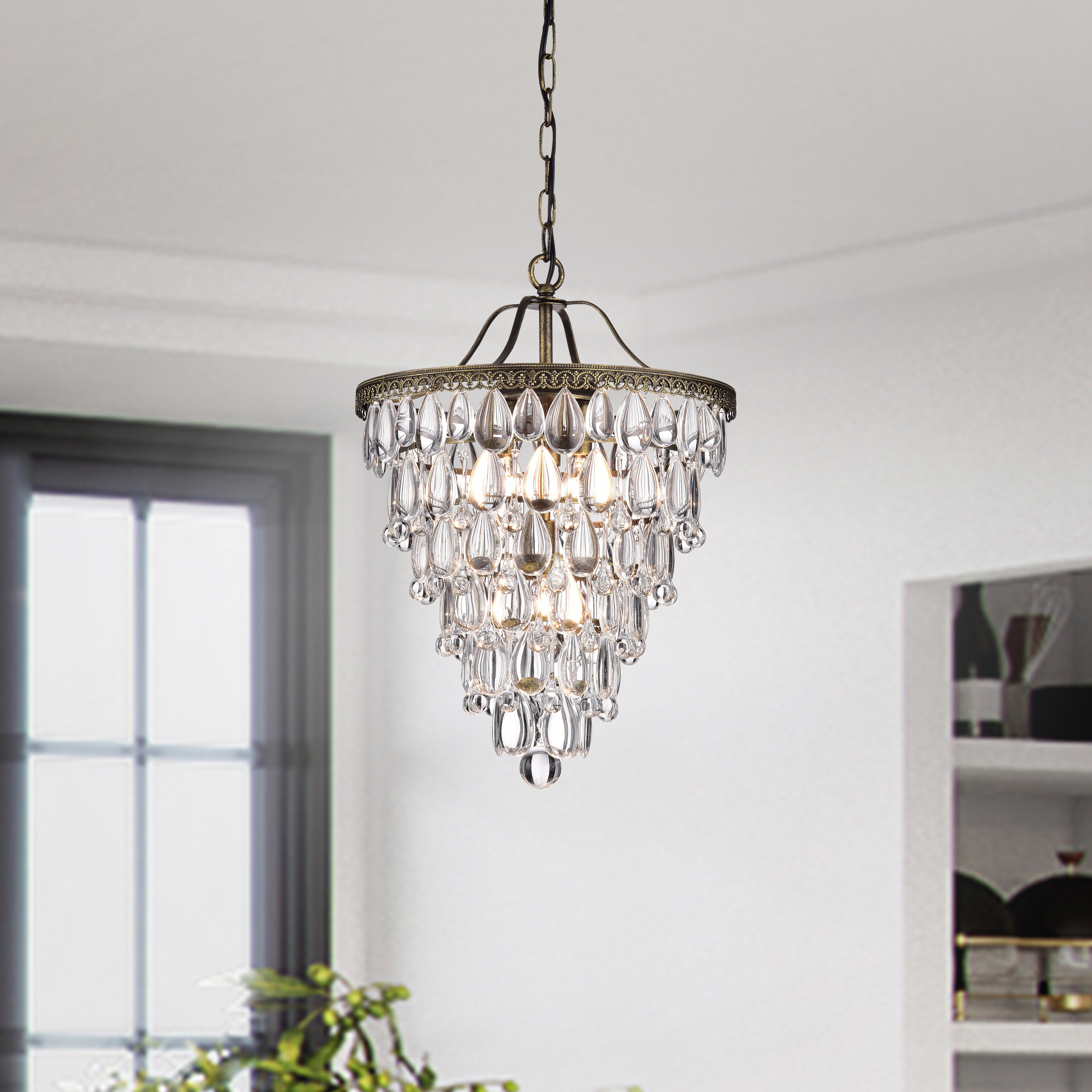 Totnes 4 Light Crystal Chandelier Within Well Known Benedetto 5 Light Crystal Chandeliers (View 8 of 25)
