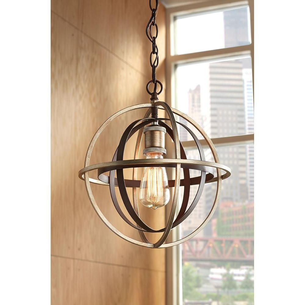 Trendy Adcock 3 Light Single Globe Pendants For Home Decorators Collection 1 Light Bronze And Champagne (View 11 of 25)