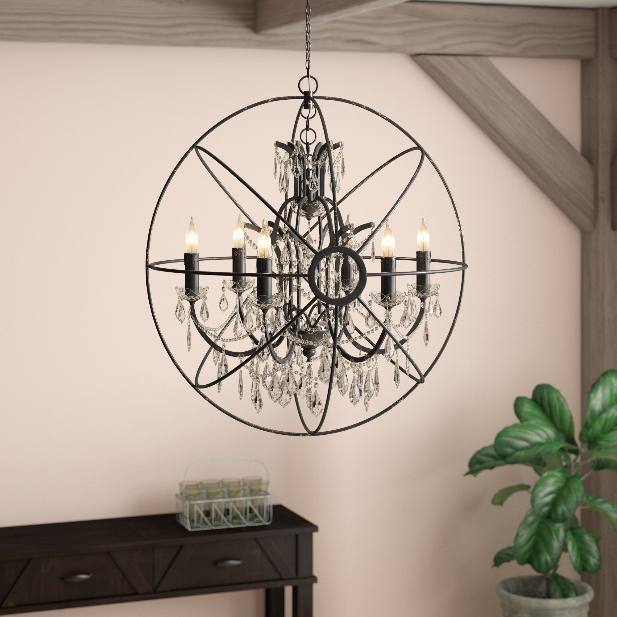 Trendy Alden 6 Light Globe Chandeliers Regarding Cearbhall 6 Light Globe Chandelier (View 19 of 25)