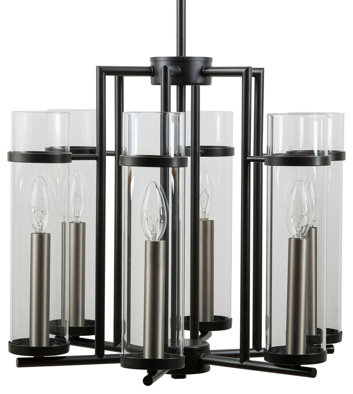 Trendy Angelina 1 Light Single Cylinder Pendants Throughout Chiara 6 Light Contemporary Chandelier – Black W/brushed (View 21 of 25)