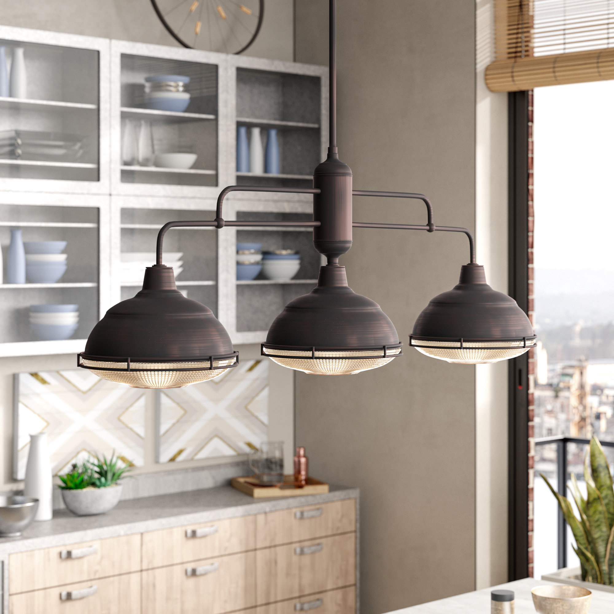 Trendy Euclid 2 Light Kitchen Island Linear Pendants Inside Bruges 3 Light Kitchen Island Dome Pendant (View 21 of 25)