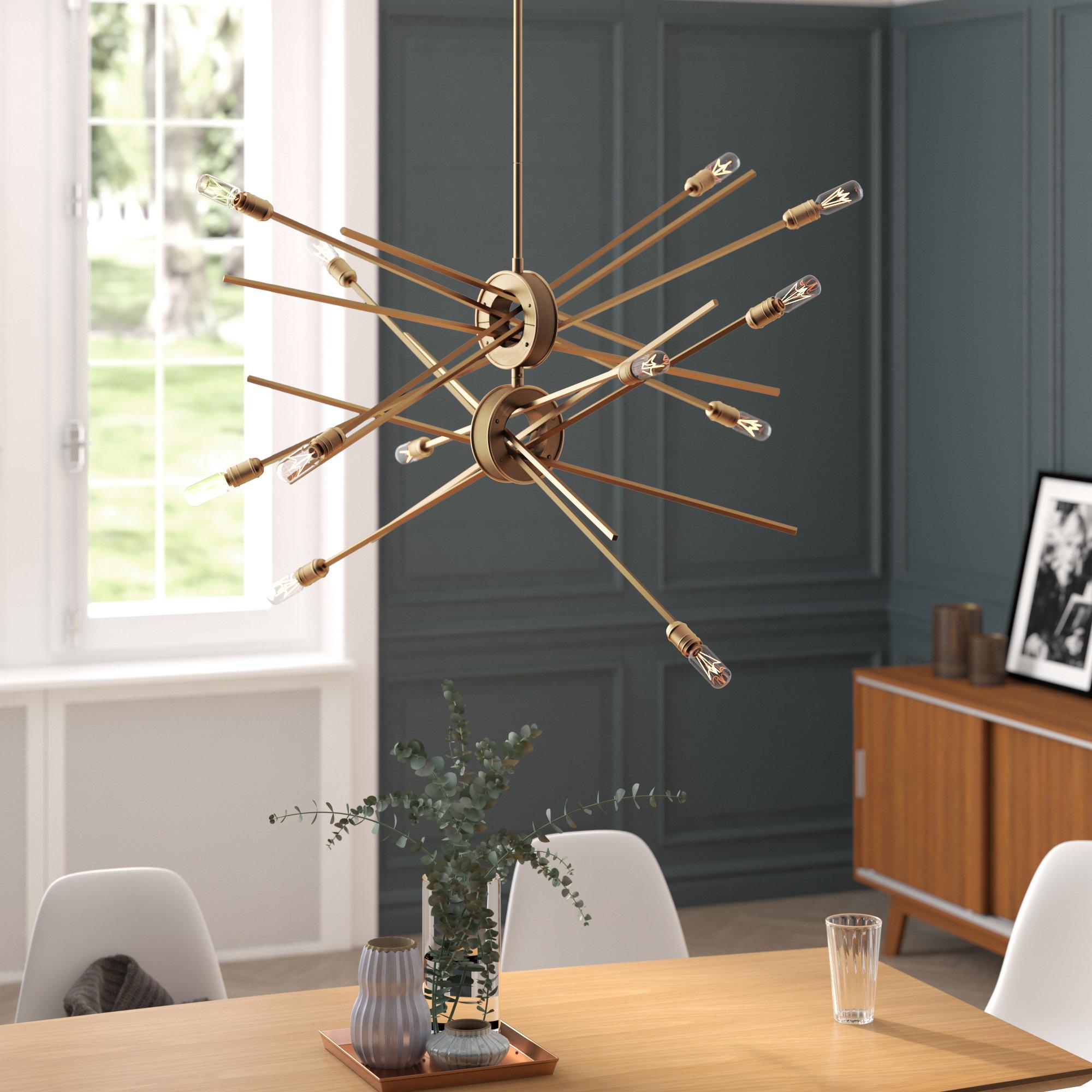 Trendy Mercury Row Graddy 12 Light Sputnik Chandelier With Vroman 12 Light Sputnik Chandeliers (View 14 of 25)