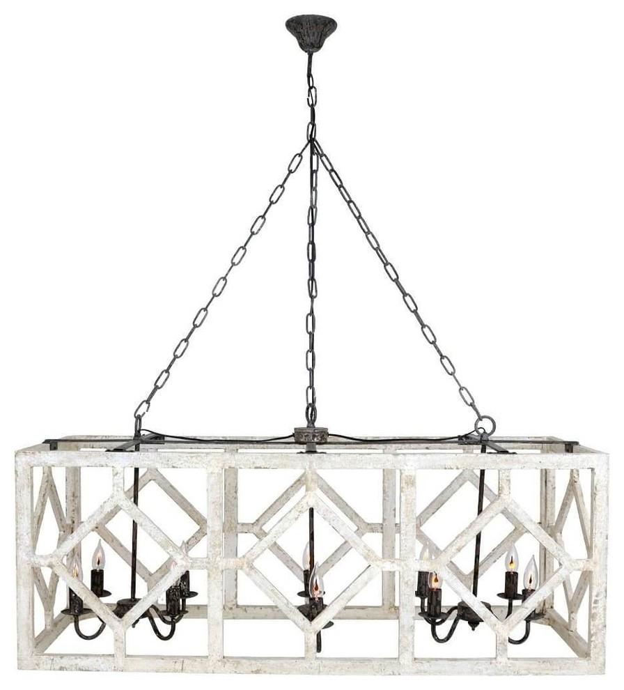 "Trendy Myrtle 10 Light Rectangular Wood Pendant Light, White/black, 18""x48""x19"" With Regard To Rossi Industrial Vintage 1 Light Geometric Pendants (View 21 of 25)"