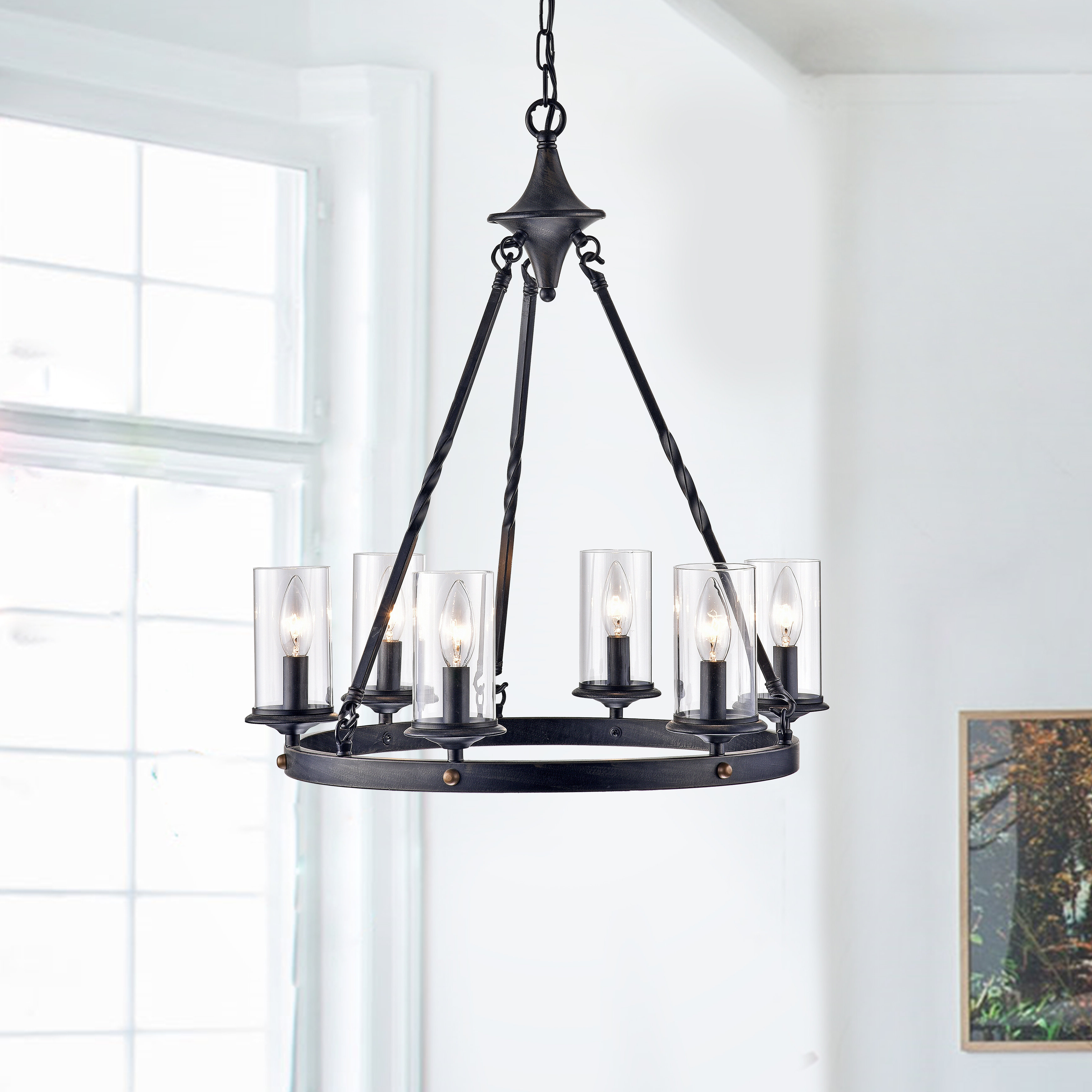 Trendy Sherri 6 Light Chandeliers Throughout Farmhouse & Rustic Black Chandeliers (View 14 of 25)