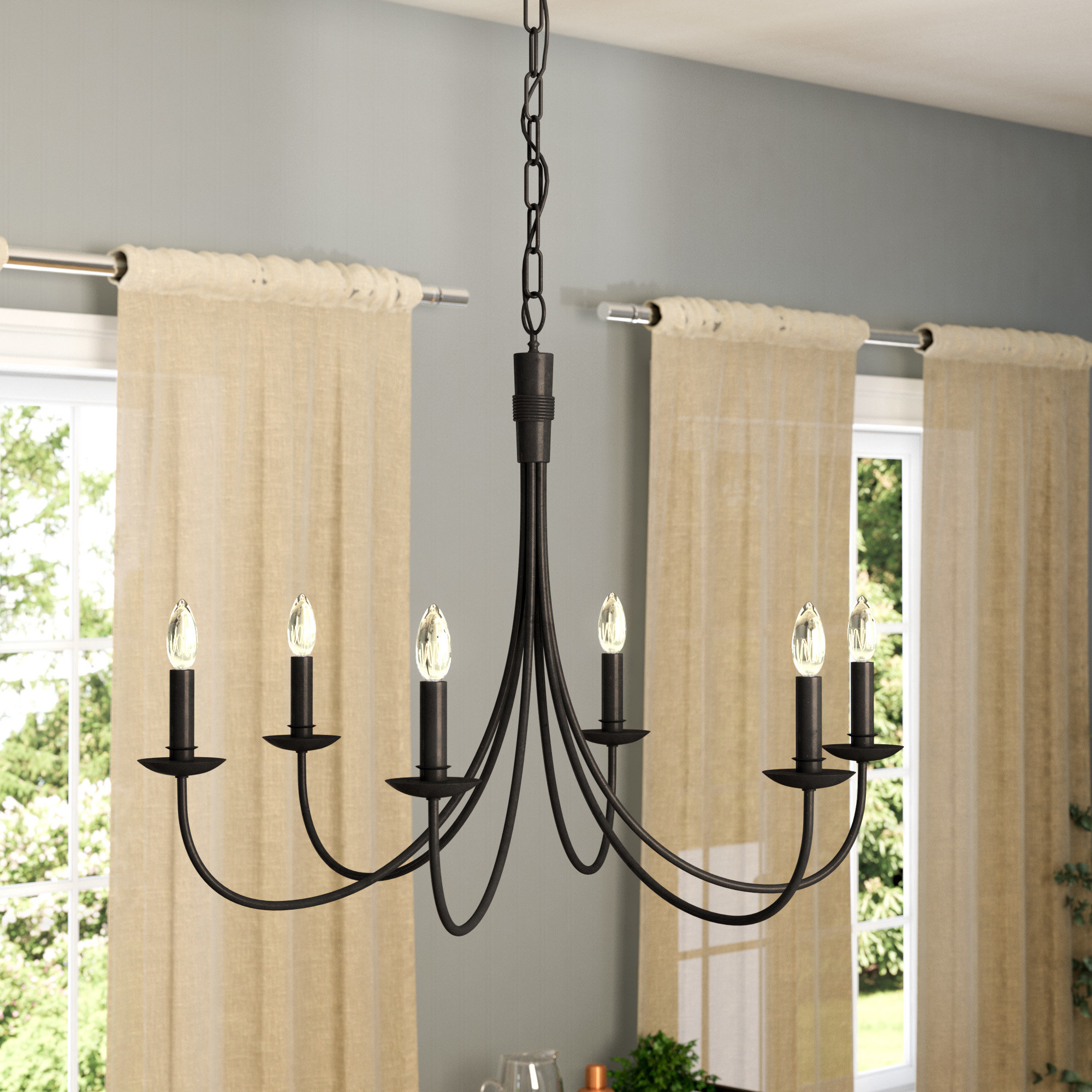 Trendy Souders 6 Light Candle Style Chandelier Within Diaz 6 Light Candle Style Chandeliers (View 22 of 25)