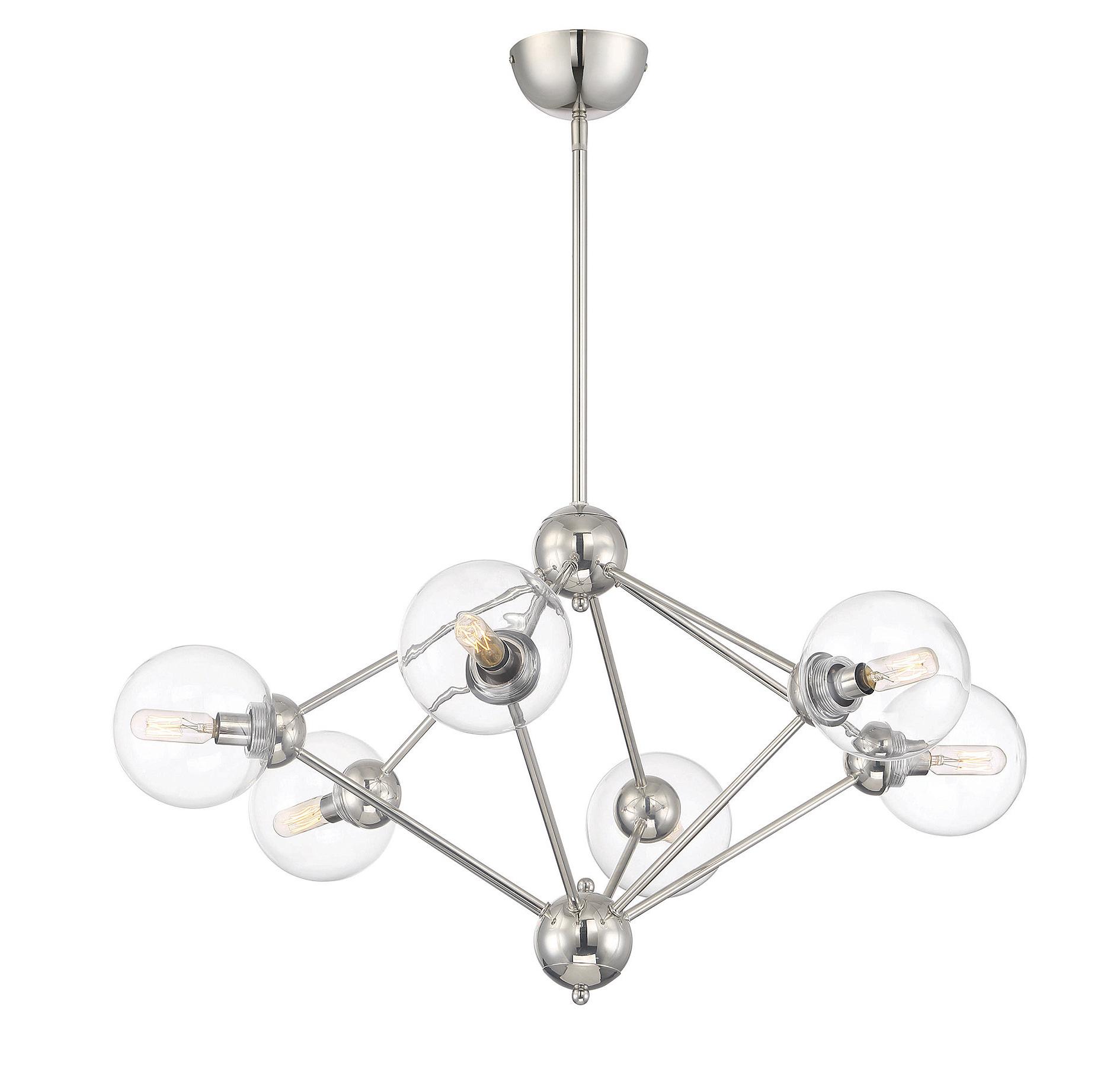 Valetta 6-Light Geometric Chandelier with 2019 Asher 12-Light Sputnik Chandeliers