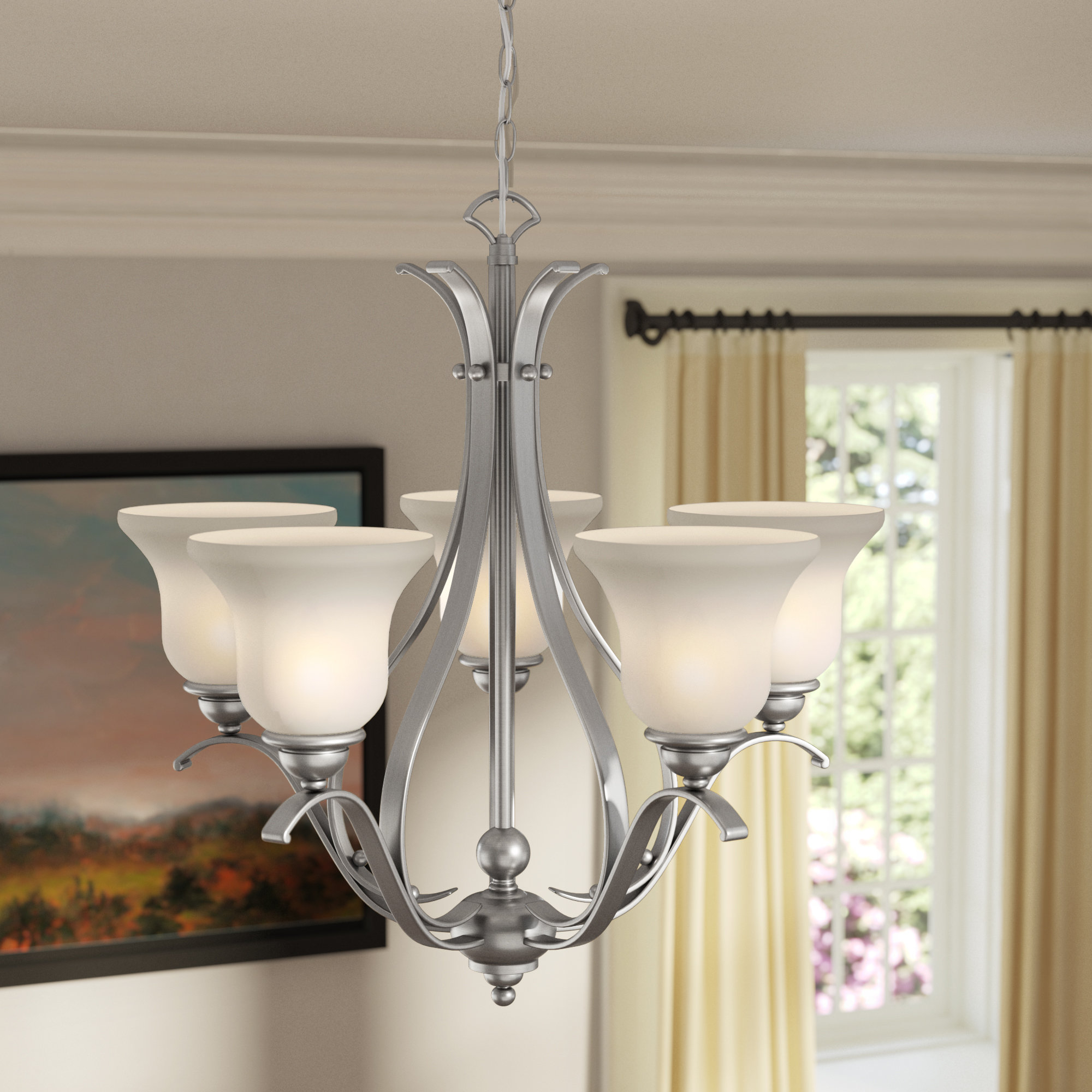 Van Horne 5 Light Shaded Chandelier With Well Known Van Horne 3 Light Single Teardrop Pendants (View 18 of 25)